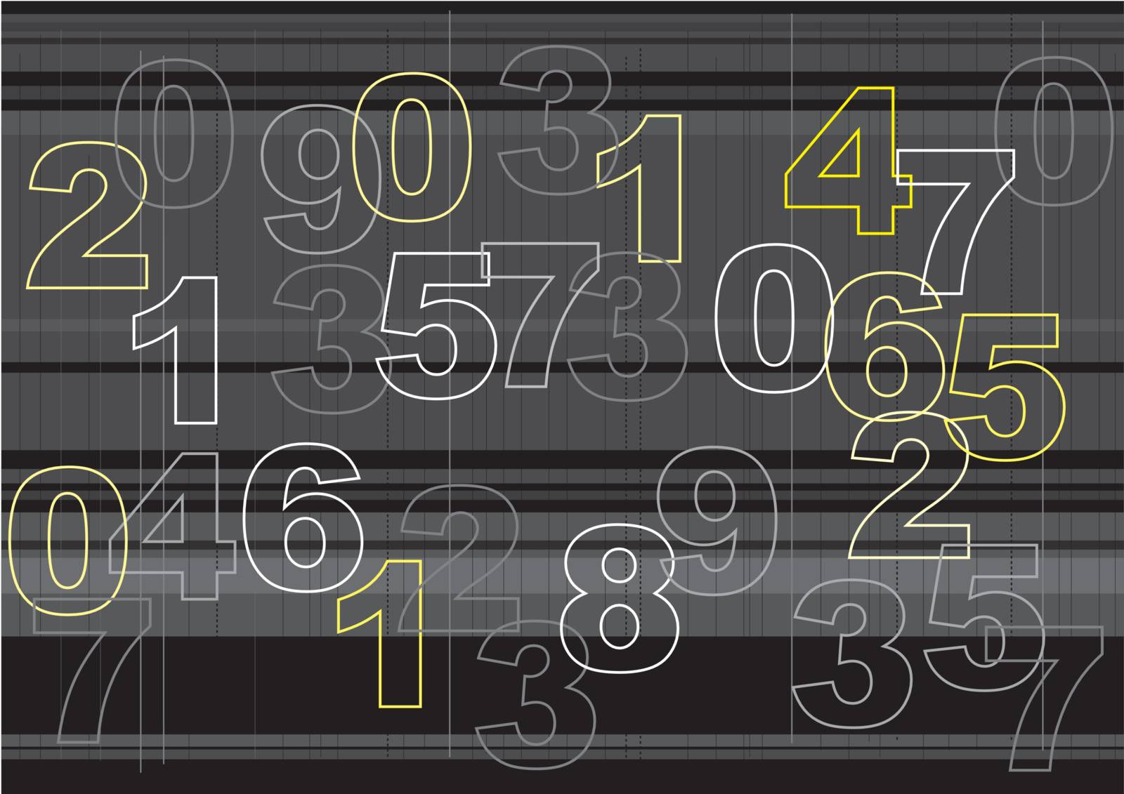 Graphic illustration of outlines of overlapping numbers
