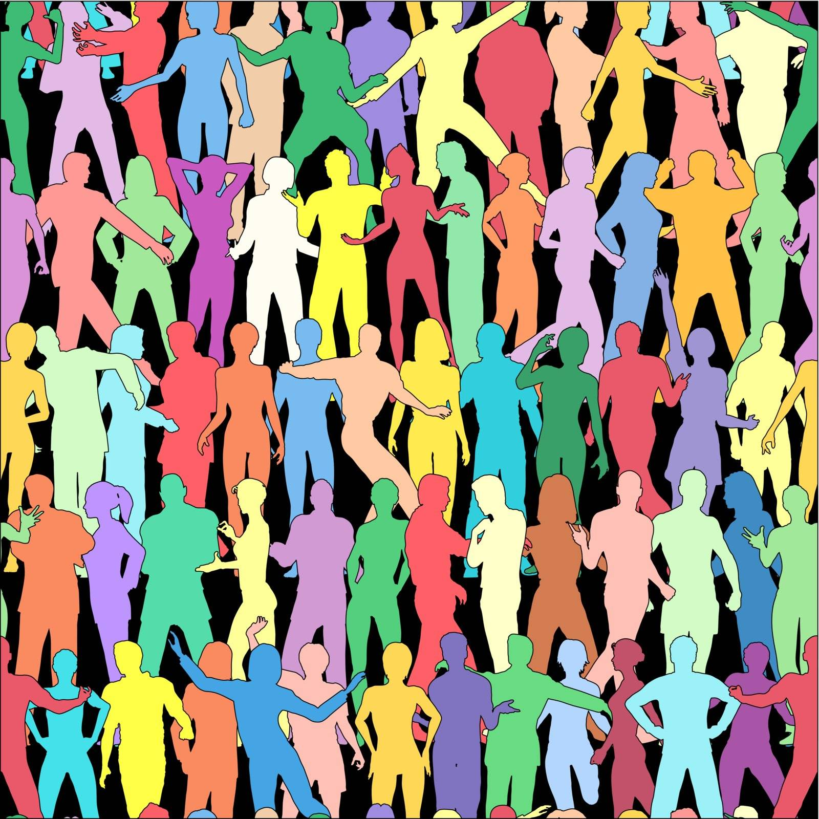 Seamless editable vector tile of people outlines