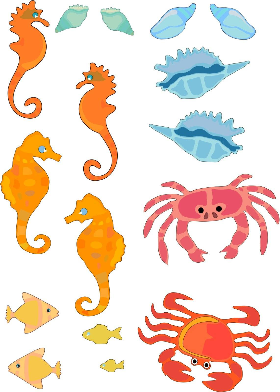 Vector Illustration of sea life and shells in bright colors.