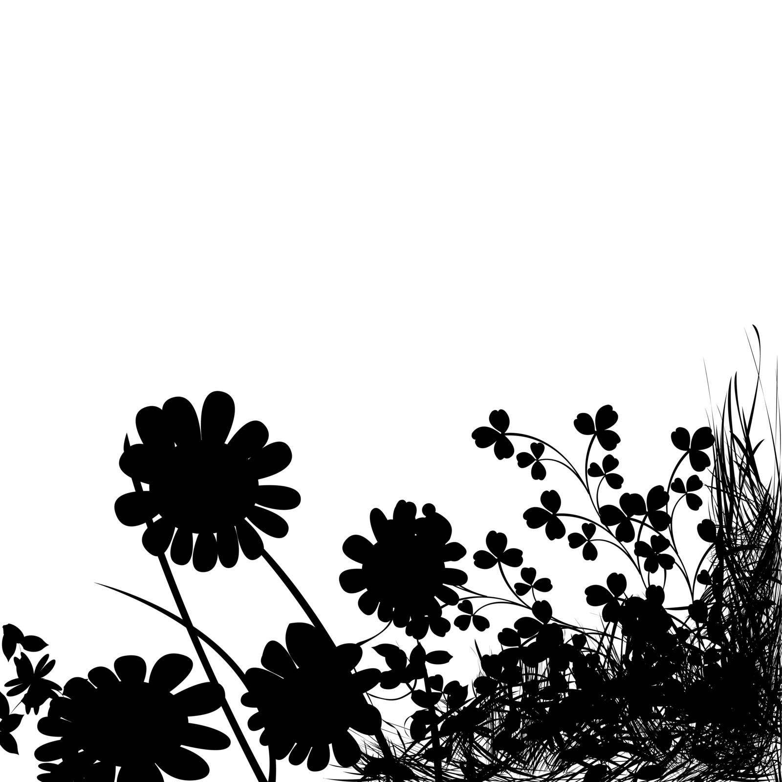 Foliage background, flowers silhouette and grass