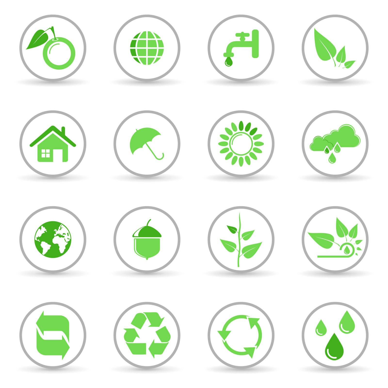 Environmental and recycling vector icon set