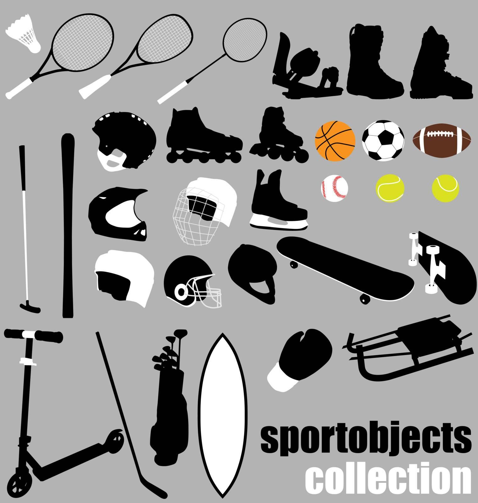 large set of sport equipment