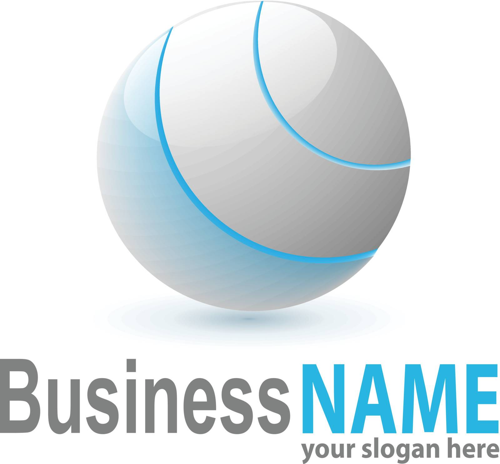 Logo 3d glossy sphere blue and grey, vector.