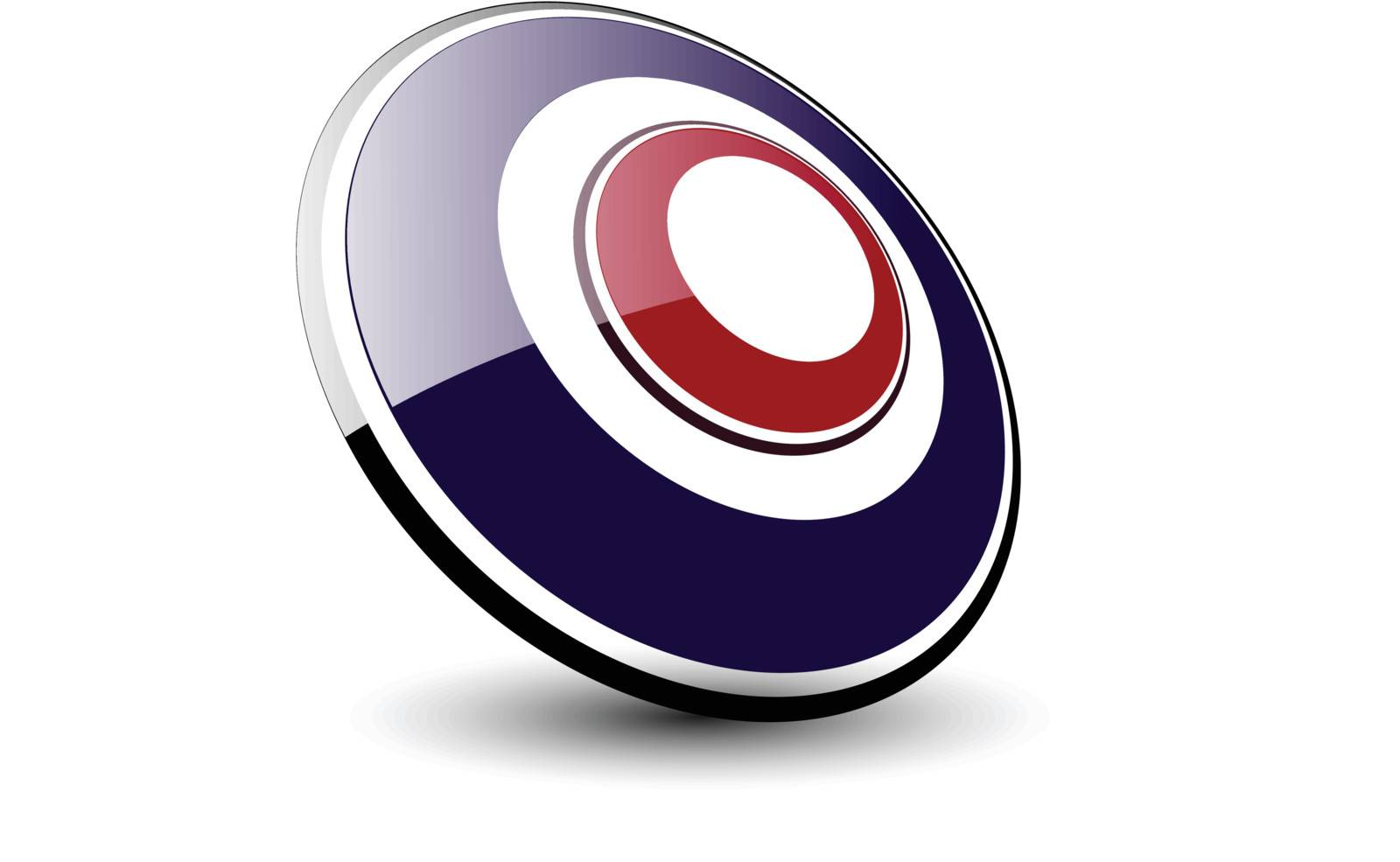 Logo 3d ellipse, blue and red vector.