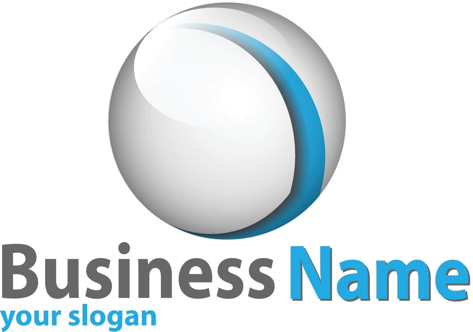 Logo 3d glossy sphere blue and white perfect for your business.