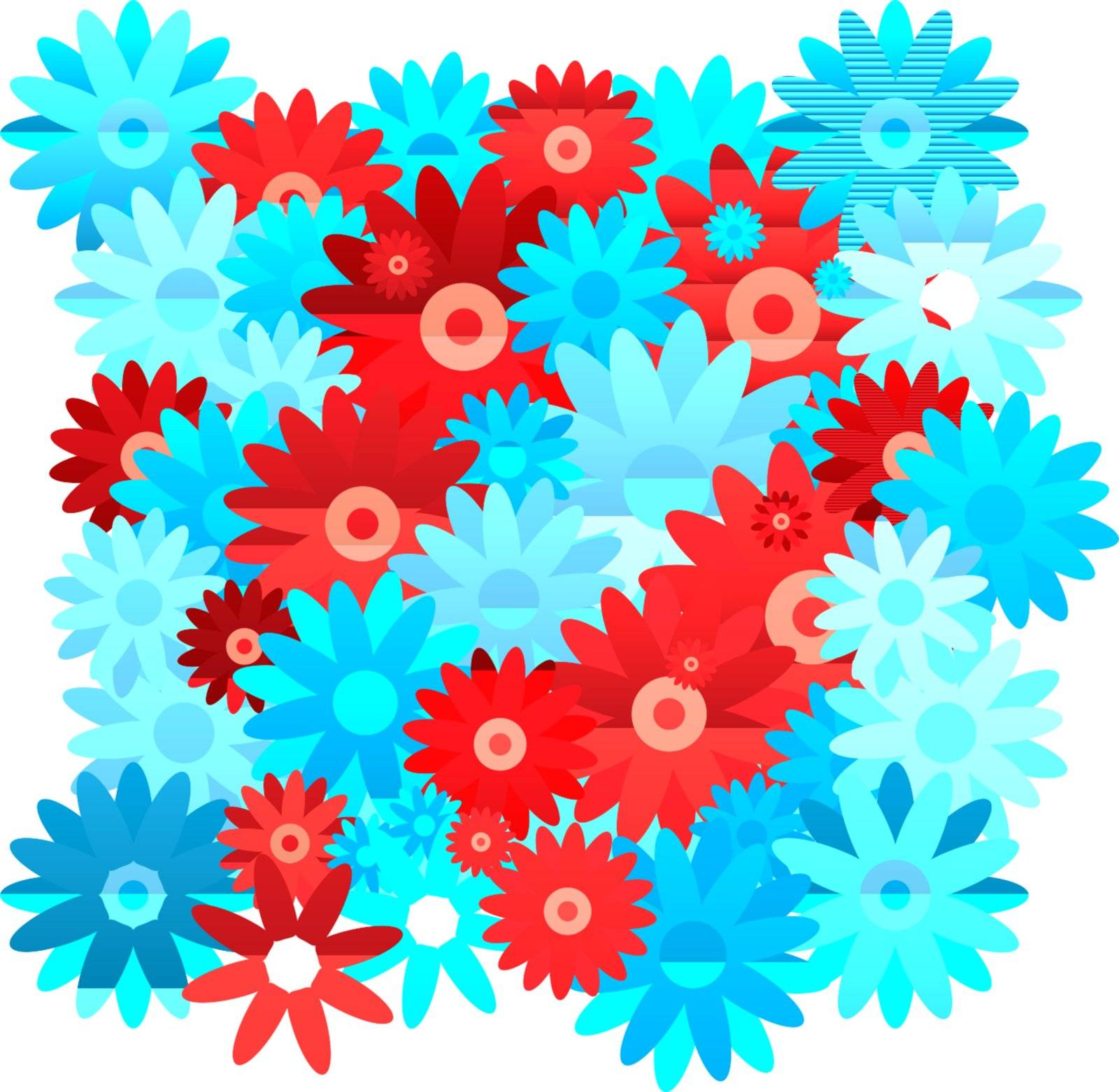floral inspired red and blue seamless background with no join