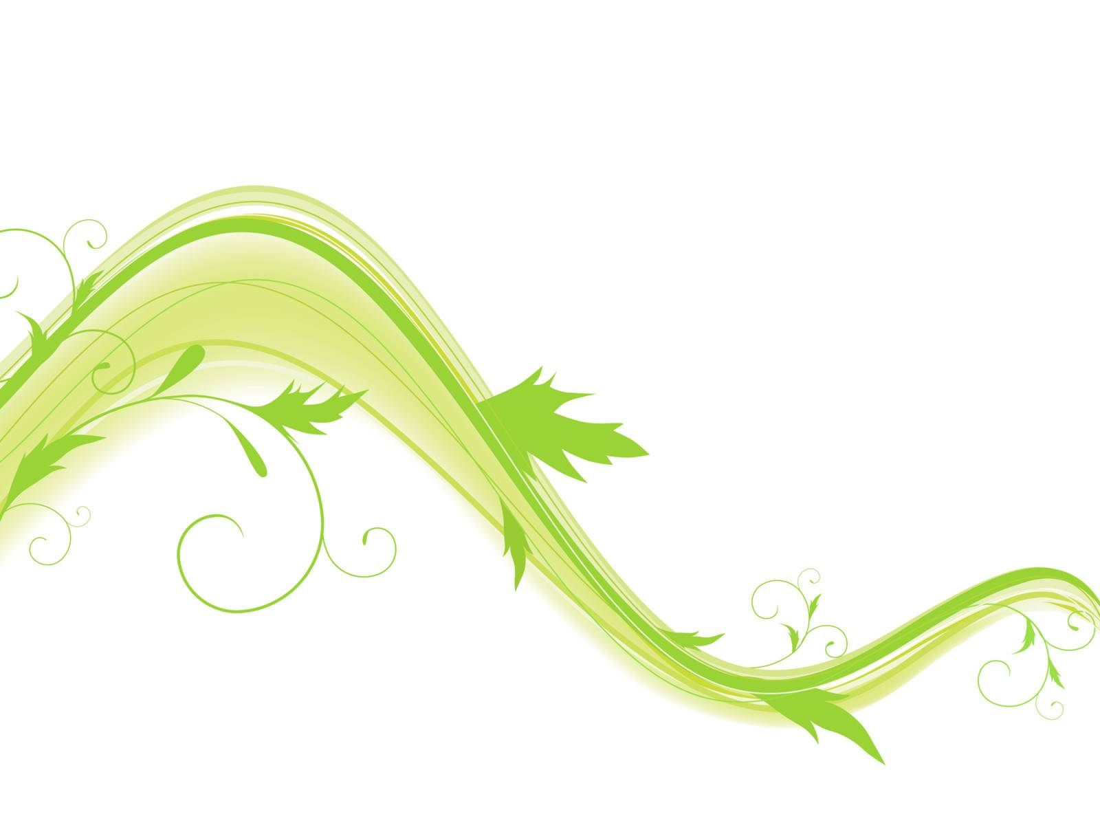 Abstract wave with foliage and swirls in green against white background