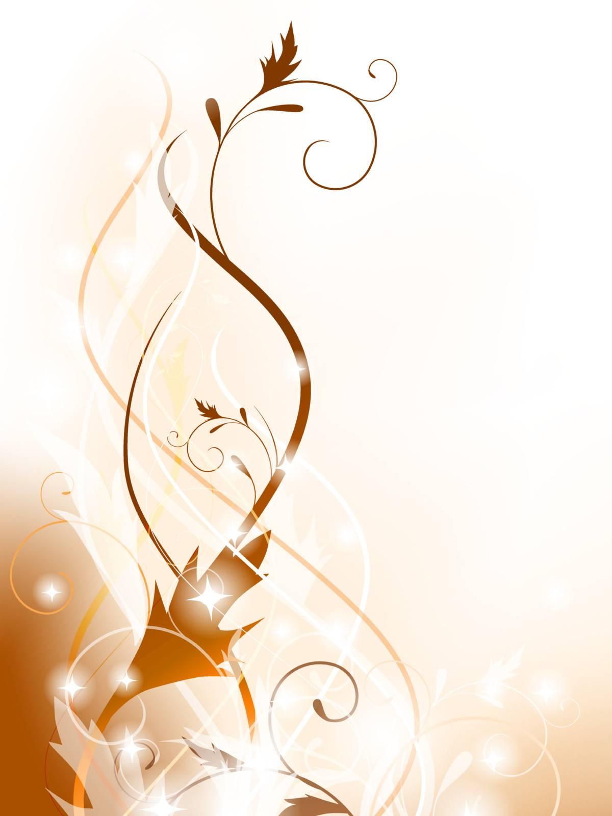 floral swirl decoration element in beige, EPS10