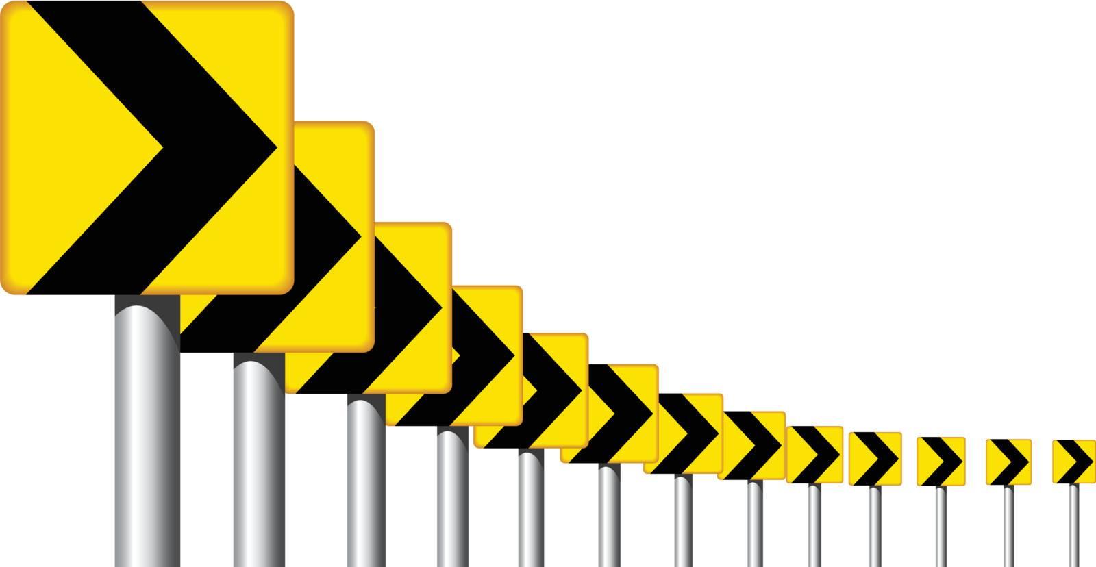 Editable vector design of roadsign arrows on a bend