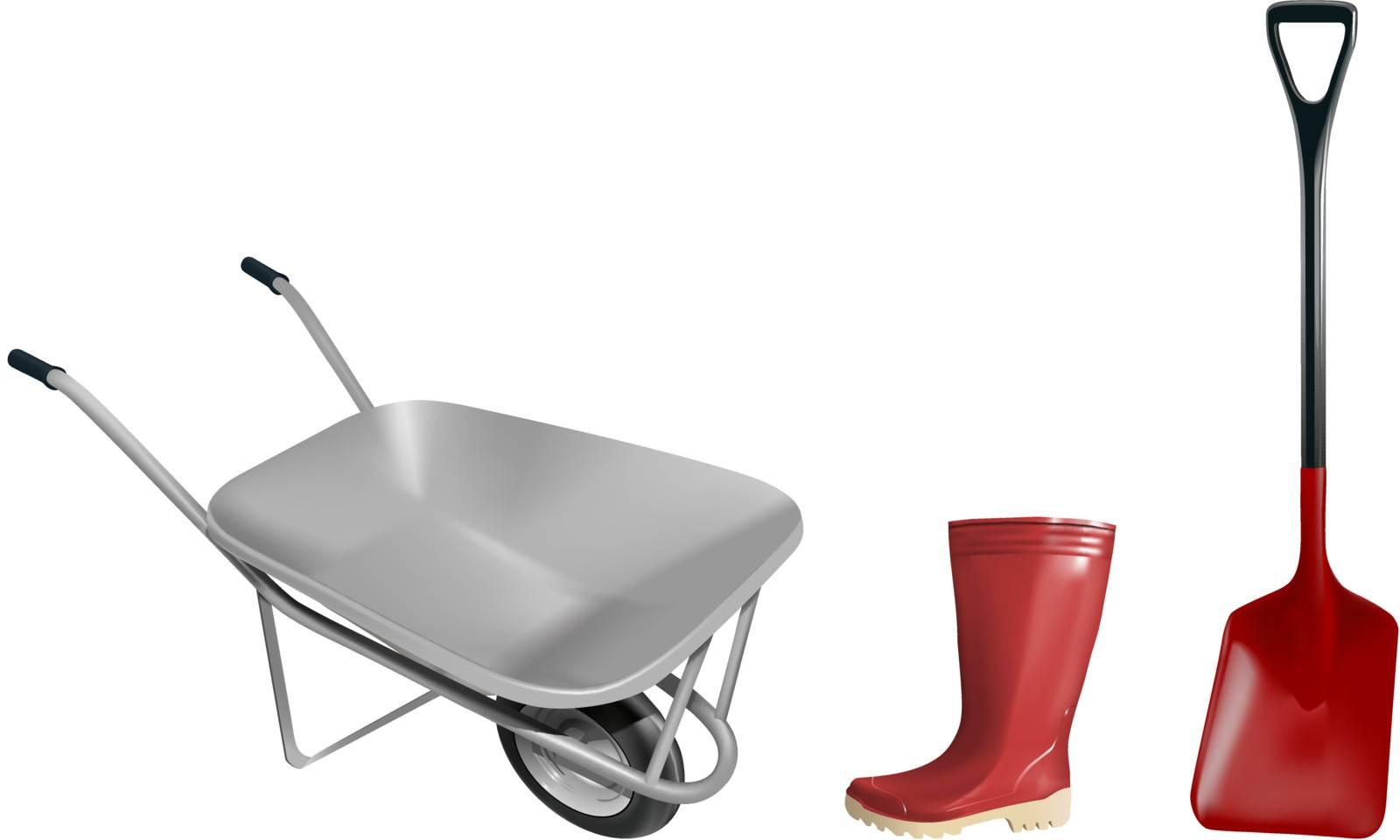 vector wheelbarrow shovel and rubber boot illustration