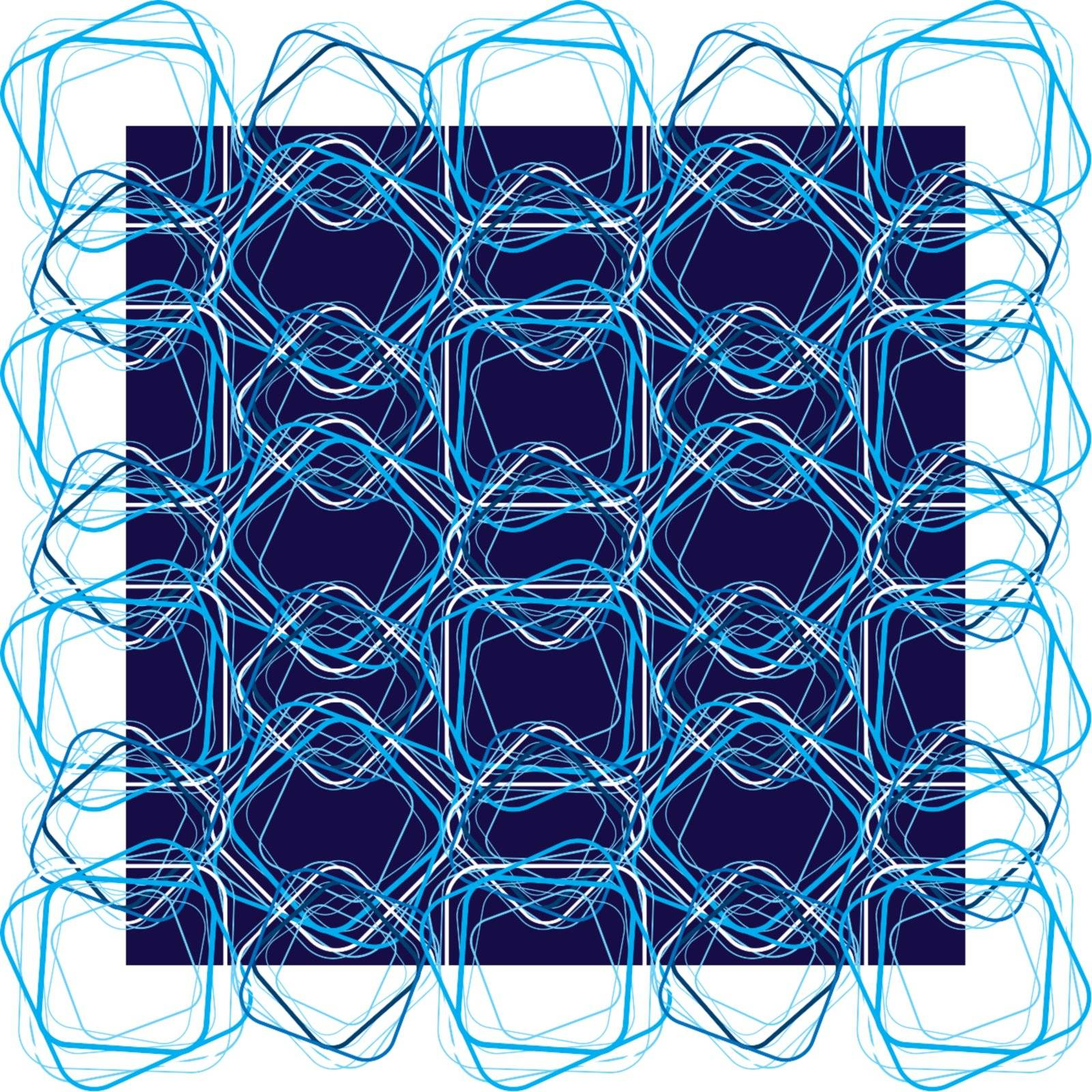 Electric illustrated blue square with a seamless repeat design