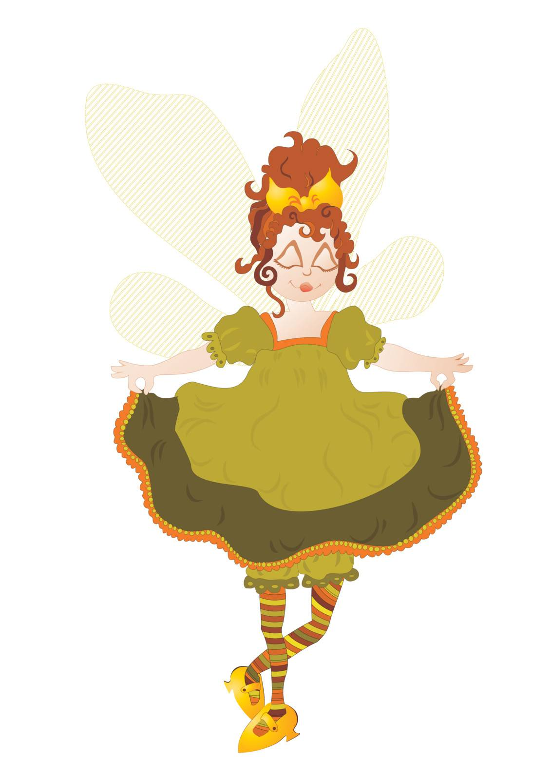 Fairy with transparent wings, Hand drawn Vector illustration
