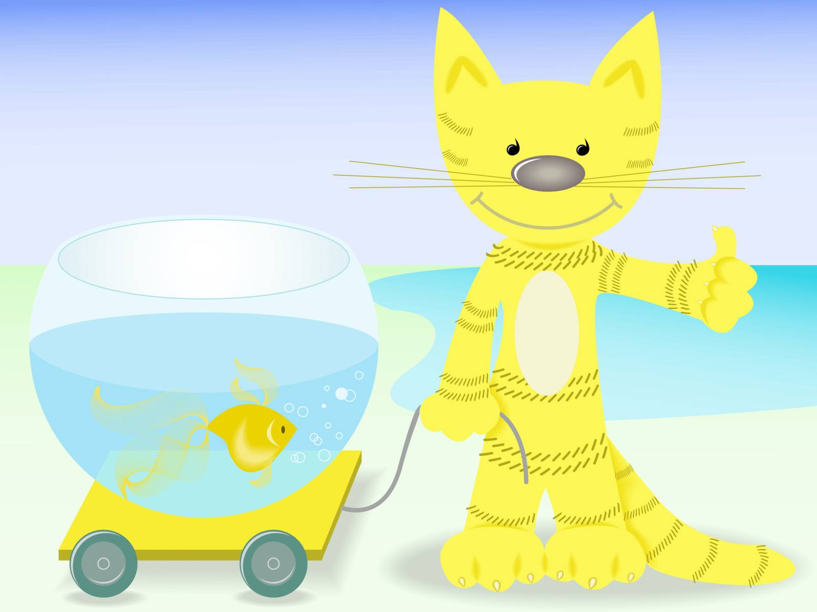 red cat lucky to cart aquarium with goldfish