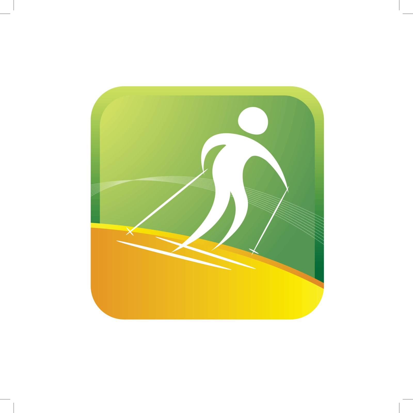human skiing using gear