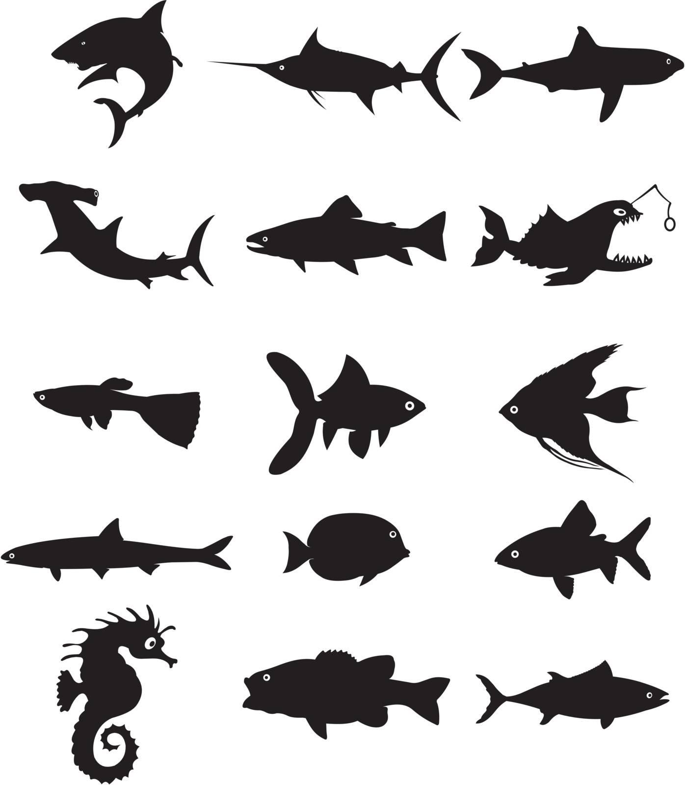 fish silhouette vector illustration