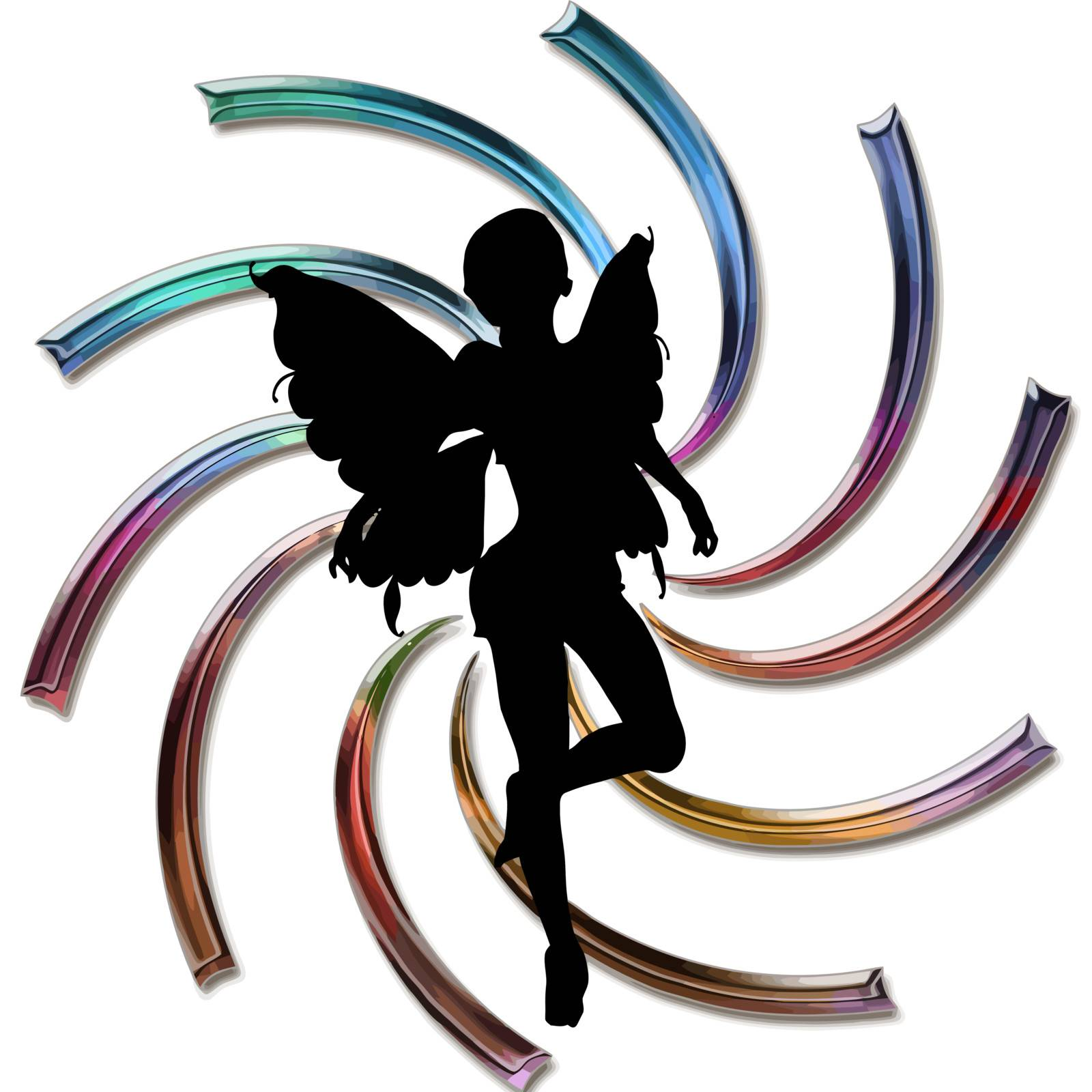 silhouette of a fairy on pretty background