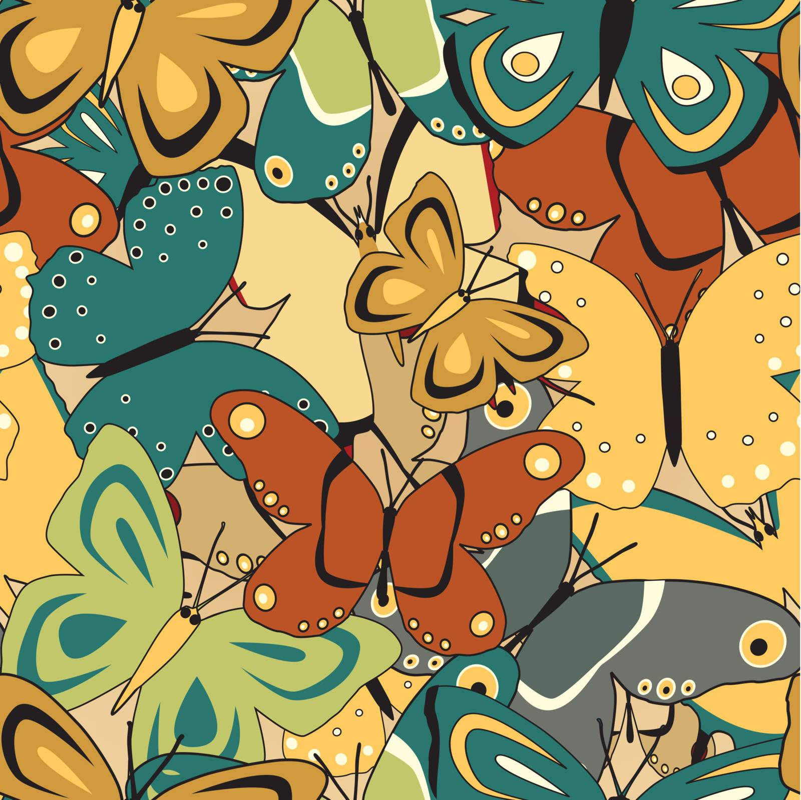 Repeating vector tile of colorful generic butterflies