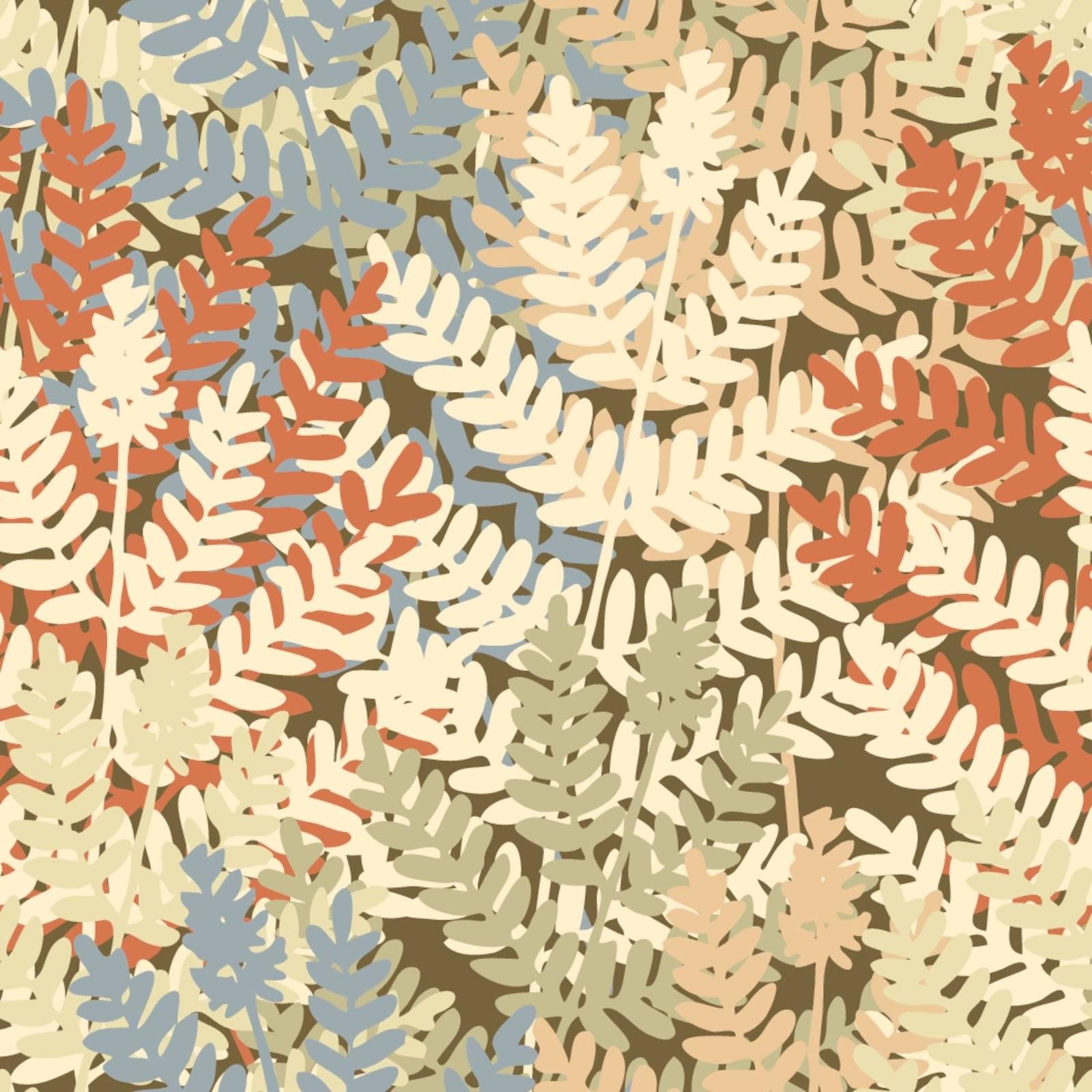 Editable vector seamless tile of fern leaves