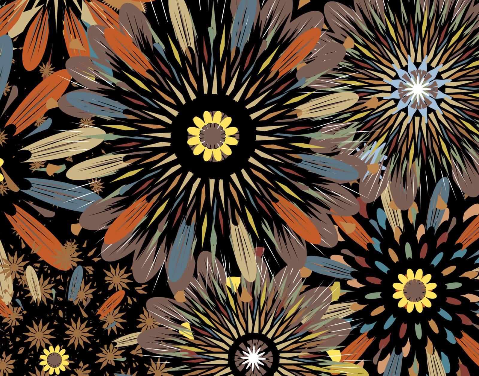 Editable vector background illustration of generic flowers