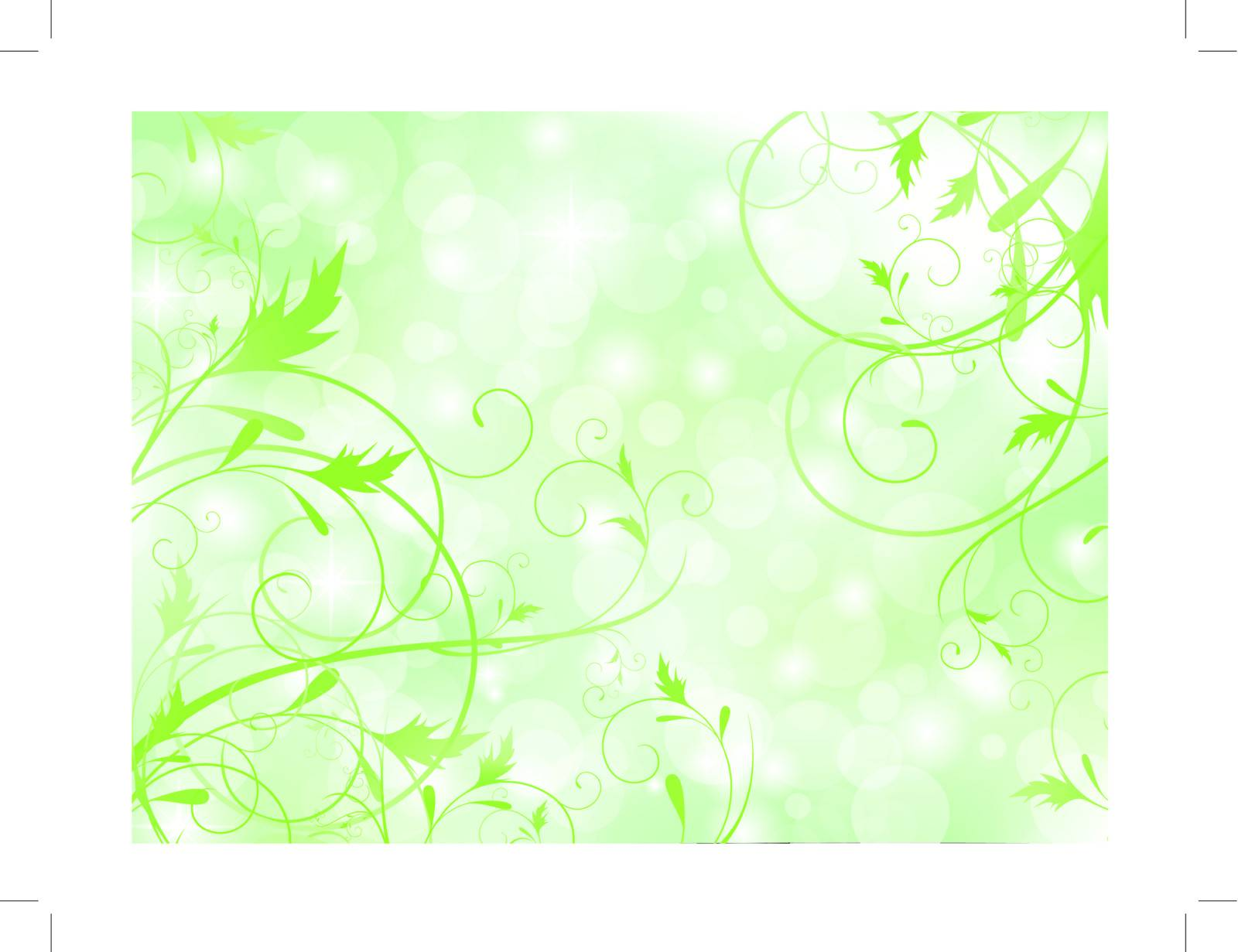 floral abstract background in green