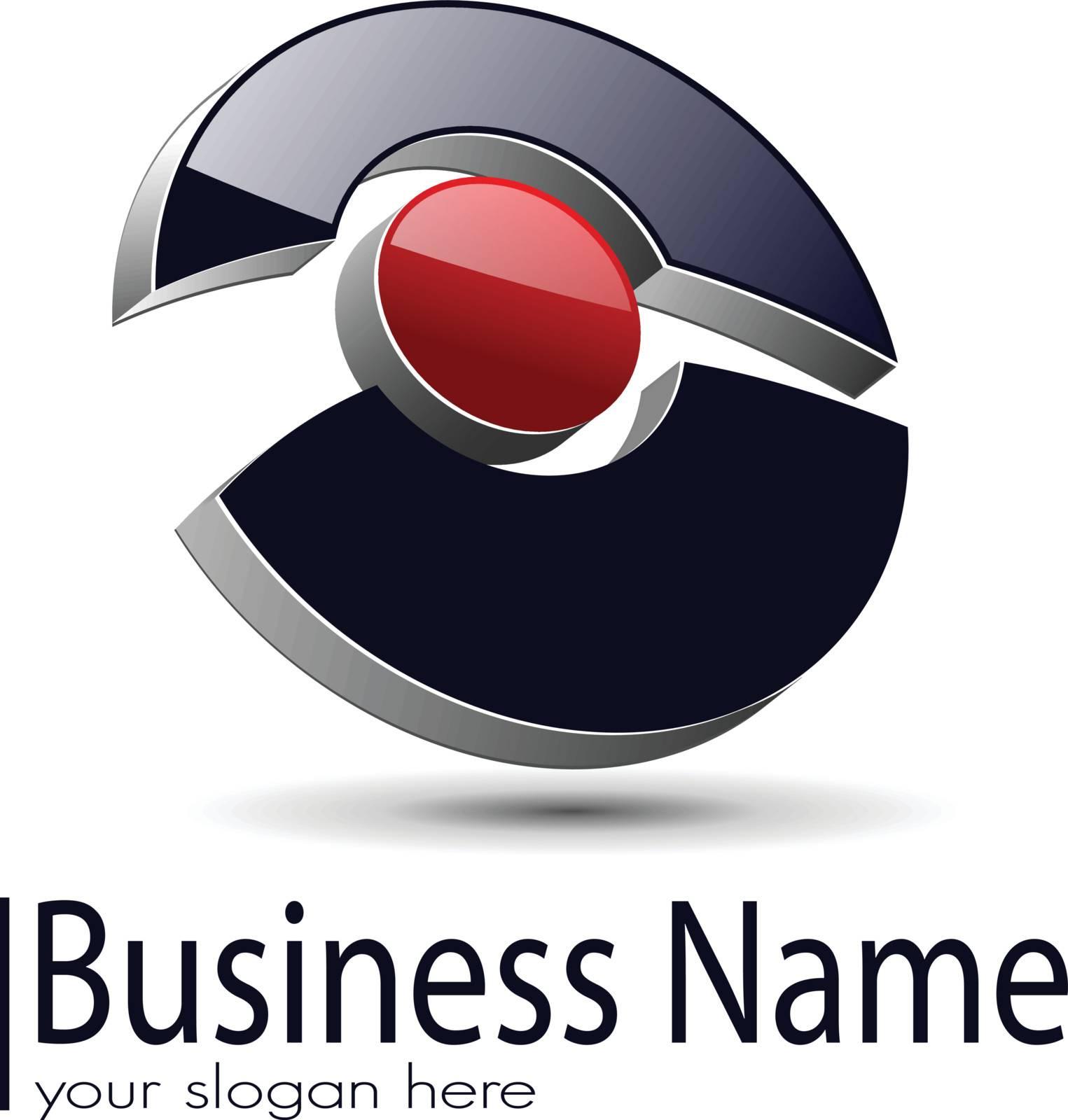 Logo design, 3d glossy ring, vector illustration.