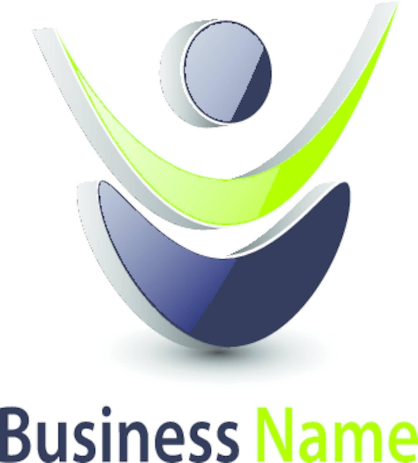 Logo abstract dynamic human shape,  grey and green.