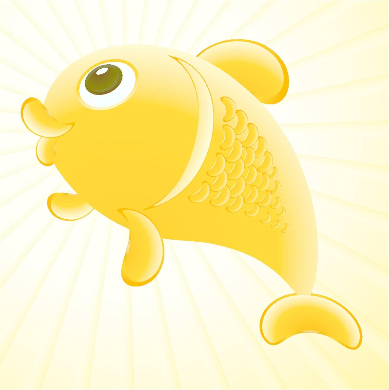 Abstract golden fish illustration