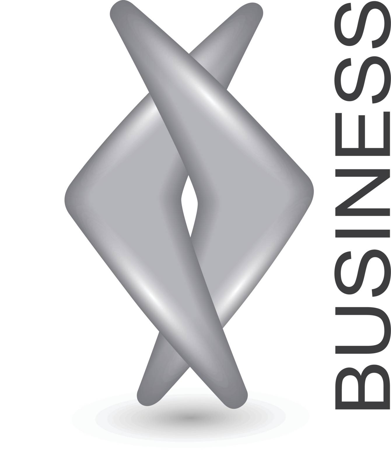 Logo business two grey silver shapes, vector.