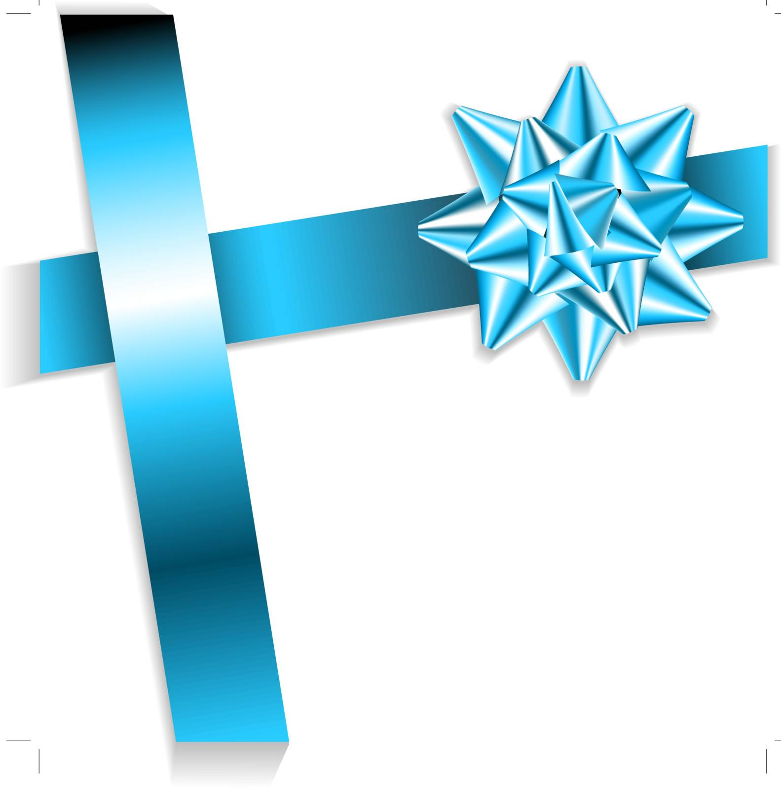 blue bow on a blue ribbon with white background - vector Christmas card