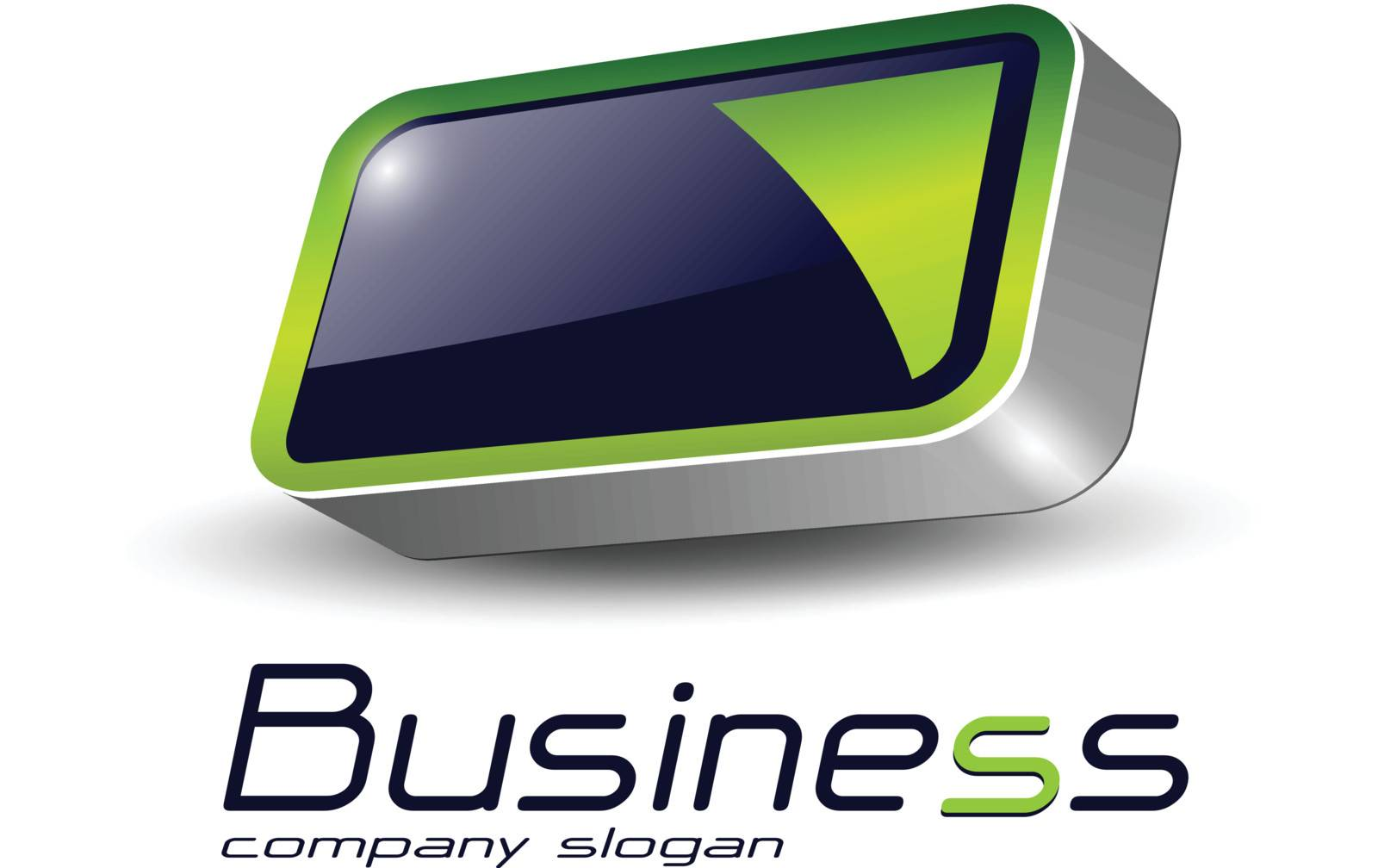 Logo design, 3d  rectangle abstract symbol green on black, vector illustration.
