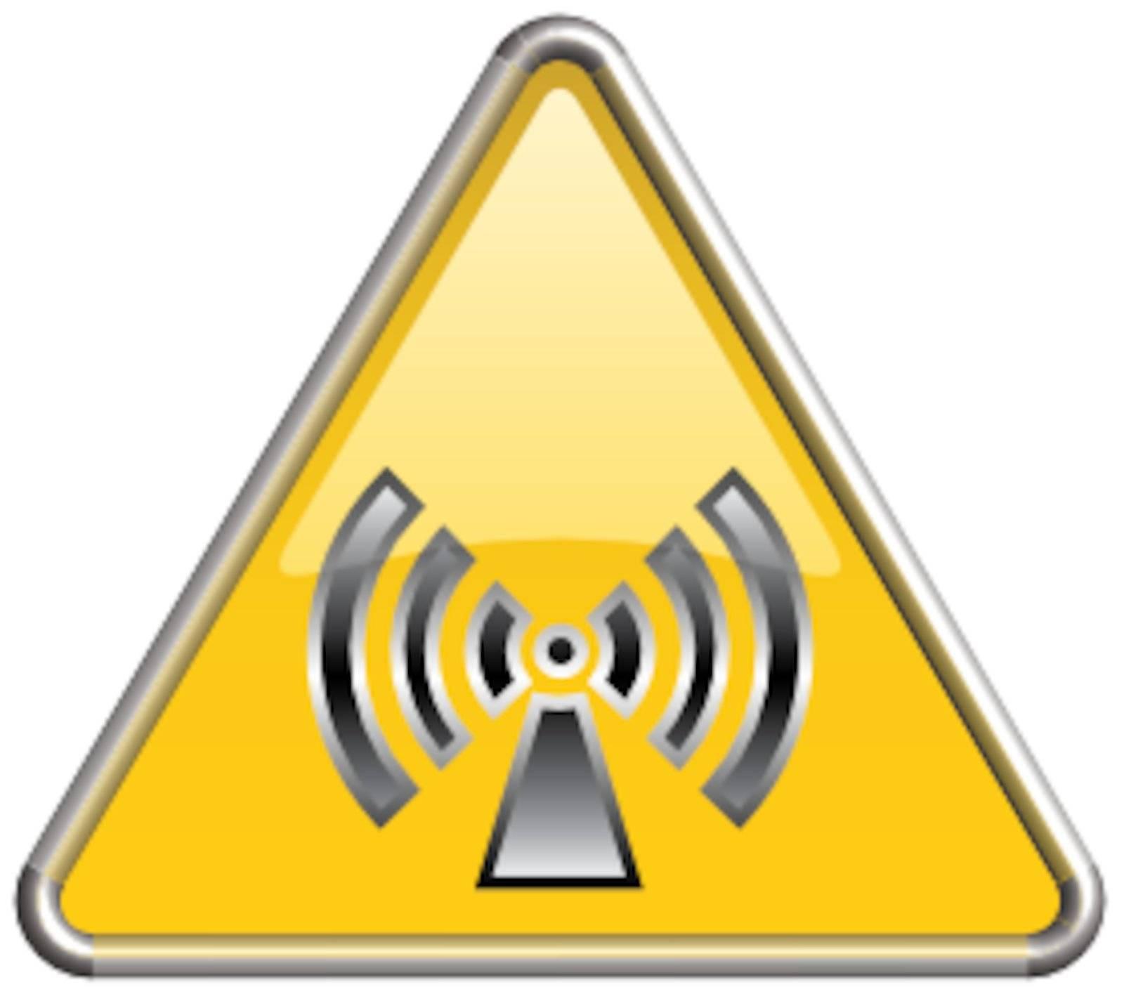 Biohazart symbol/ icon in yellow 3D triangle