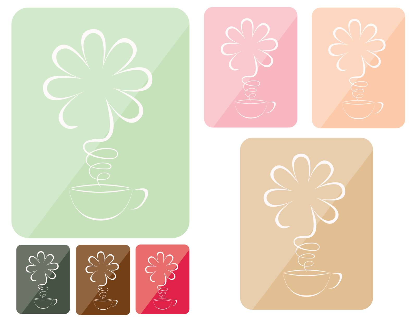with a cup expecting the set of icons an aroma as a flower