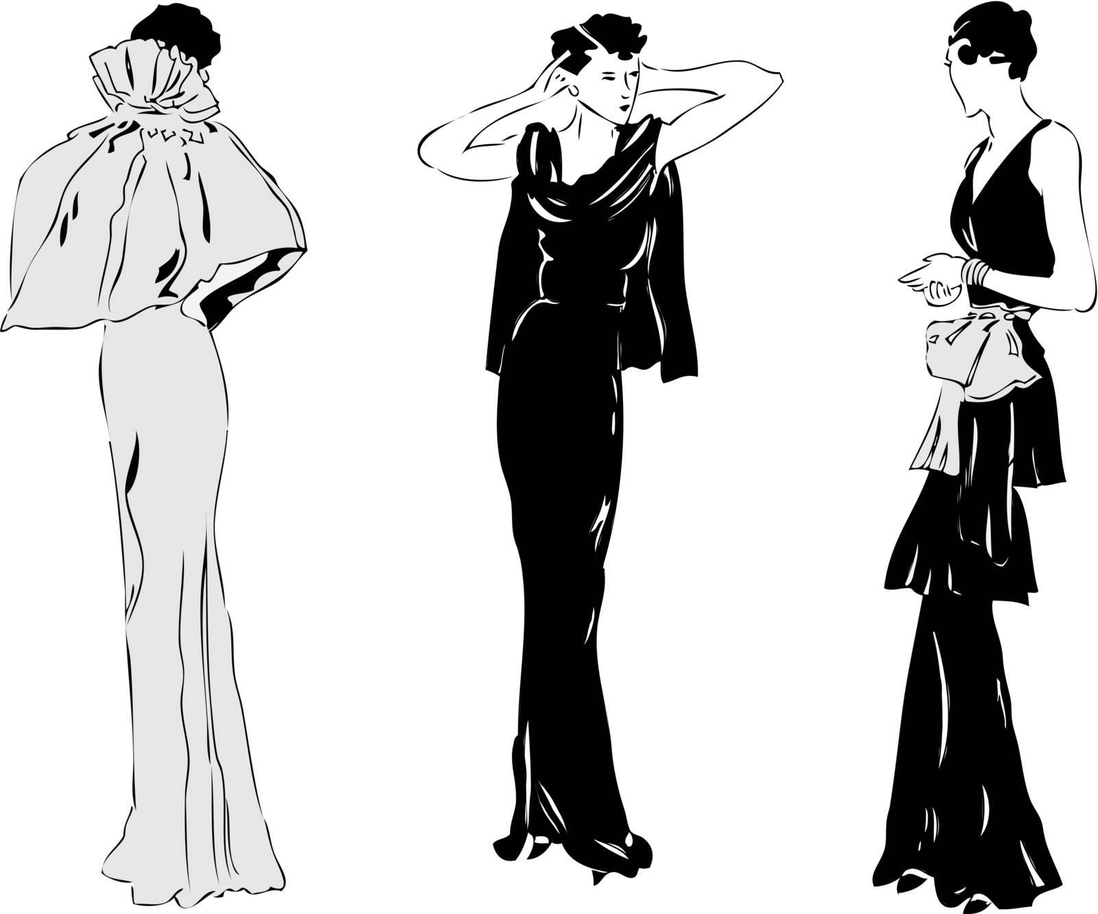 Women's Evening stylish clothing model. Vector illustration.