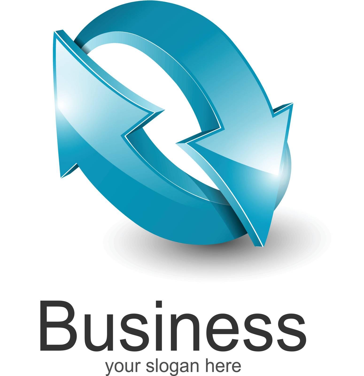 Logo for business 3d blue arrows.