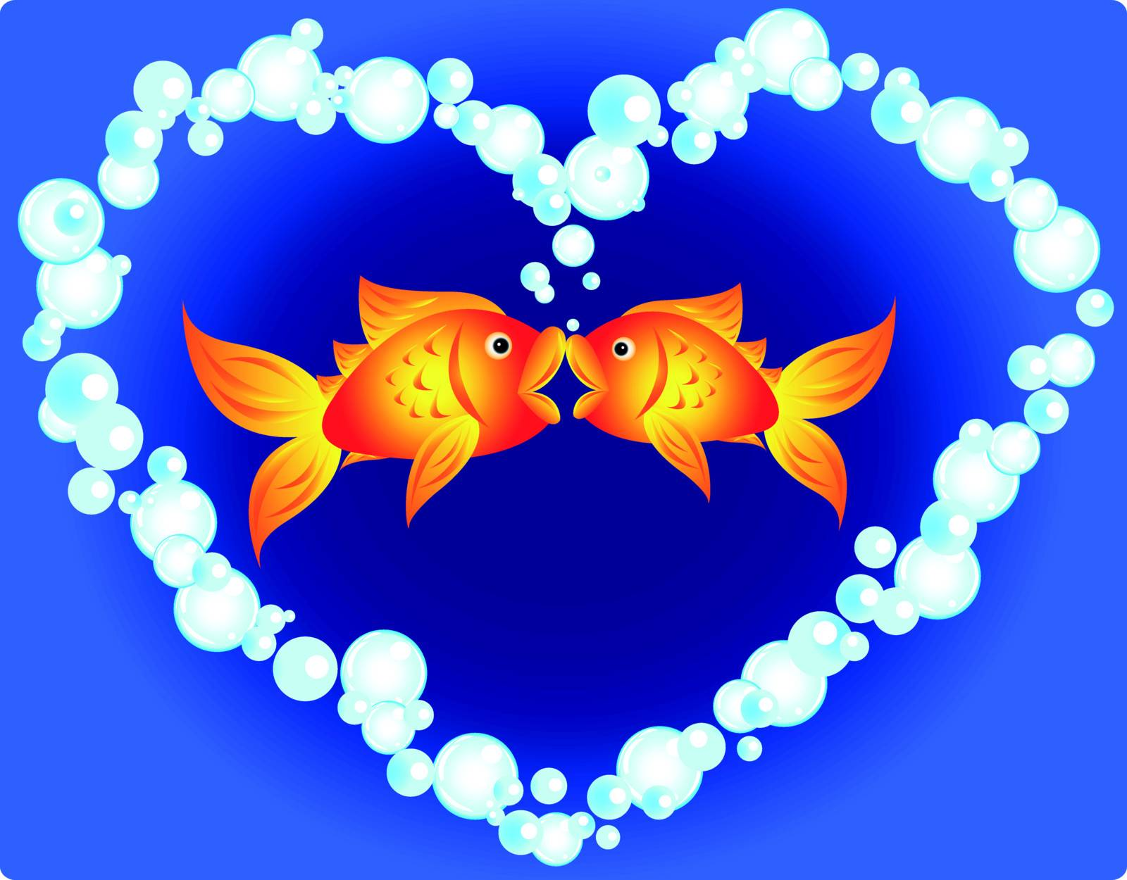 Couple of cartoon goldfish in love, kissing in a heart shape made of air bubbles, fun valentine's card or other love related occasion.
