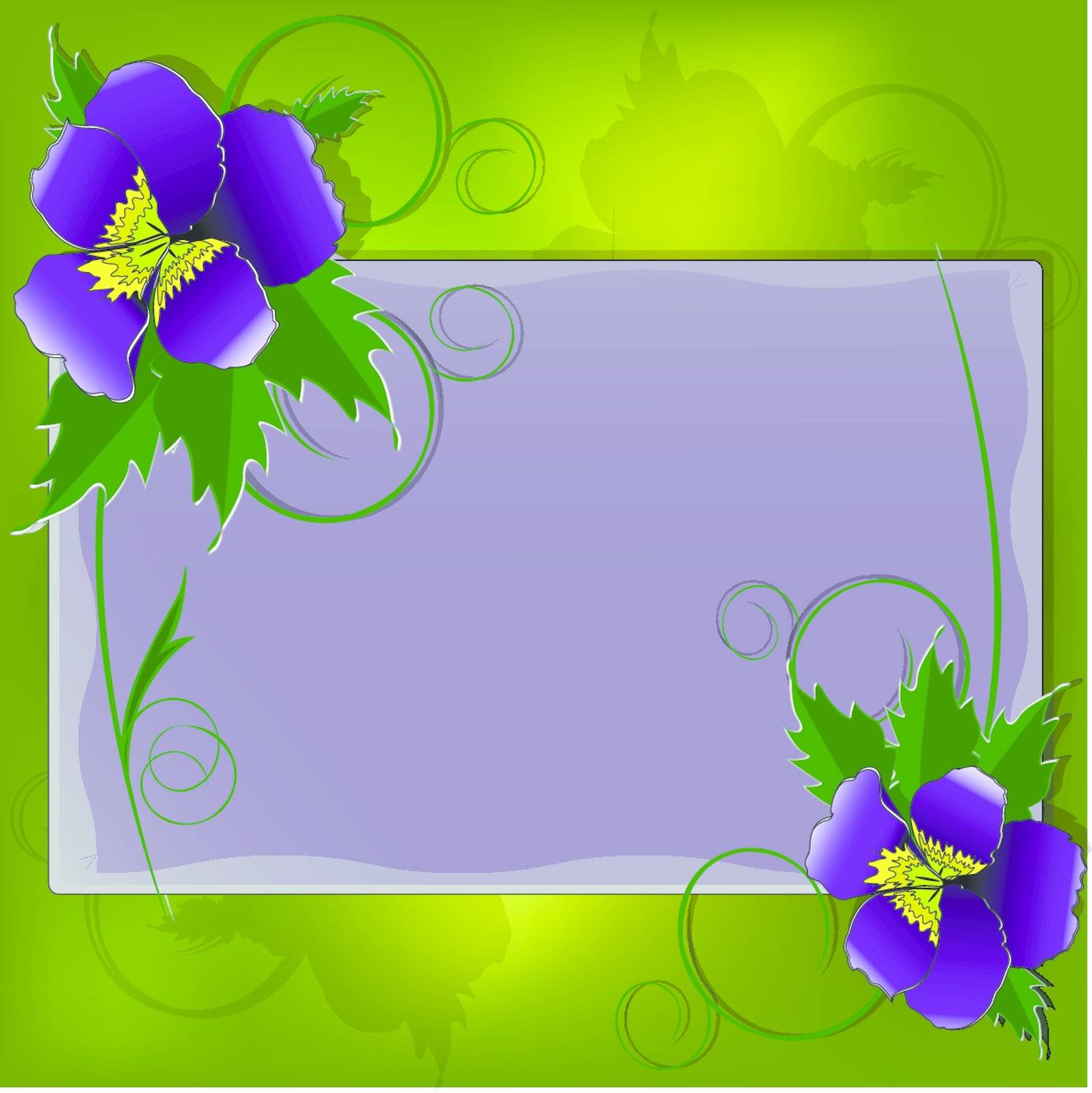 illustration, bright festive postcard with flowers and sheet
