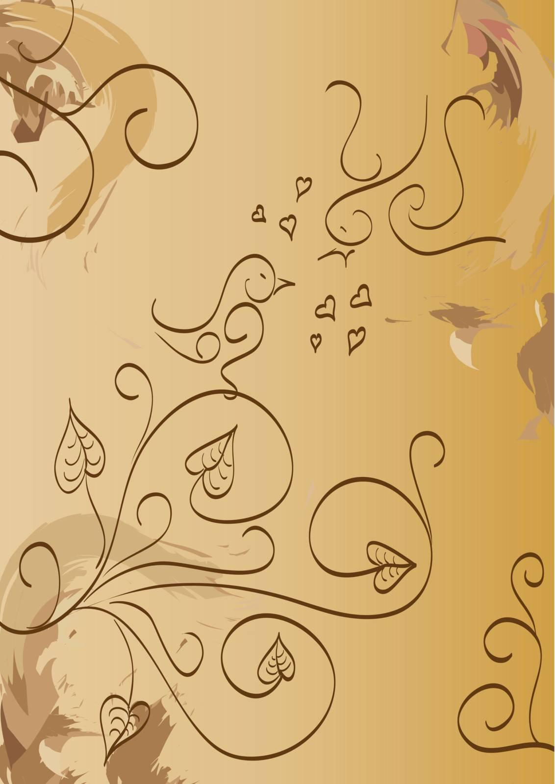 Love birds floral foliage, vector illustration