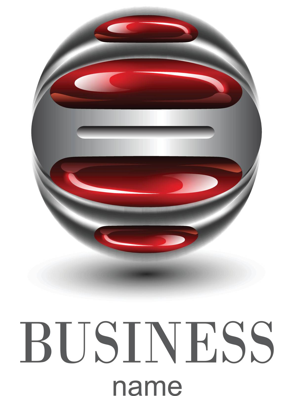 Logo business, red glossy sphere.