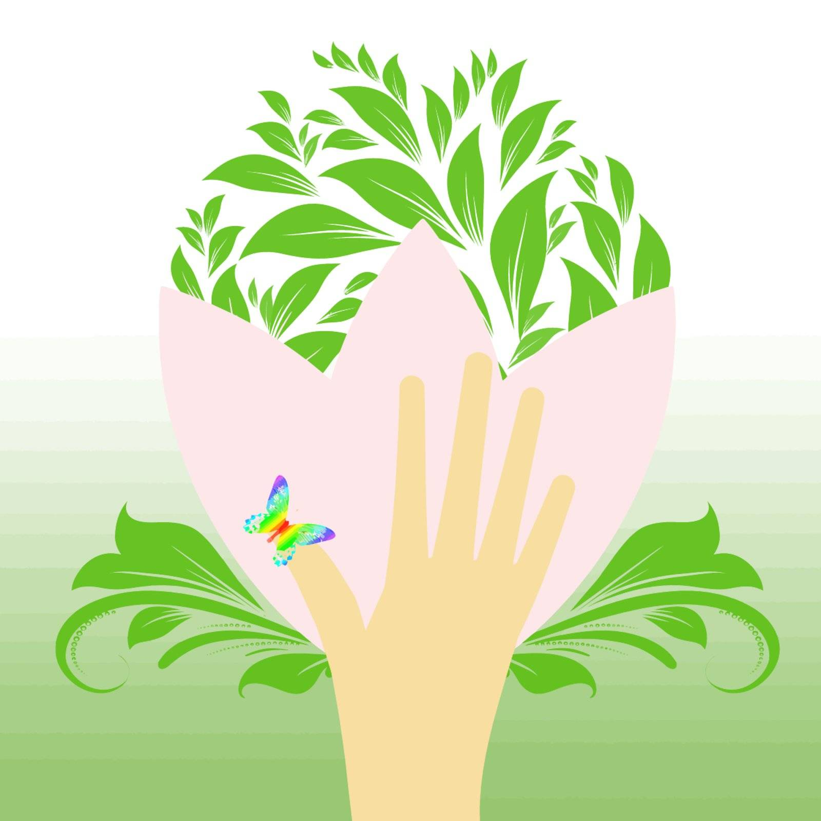 Environmental concept with floral,butterfly and hand