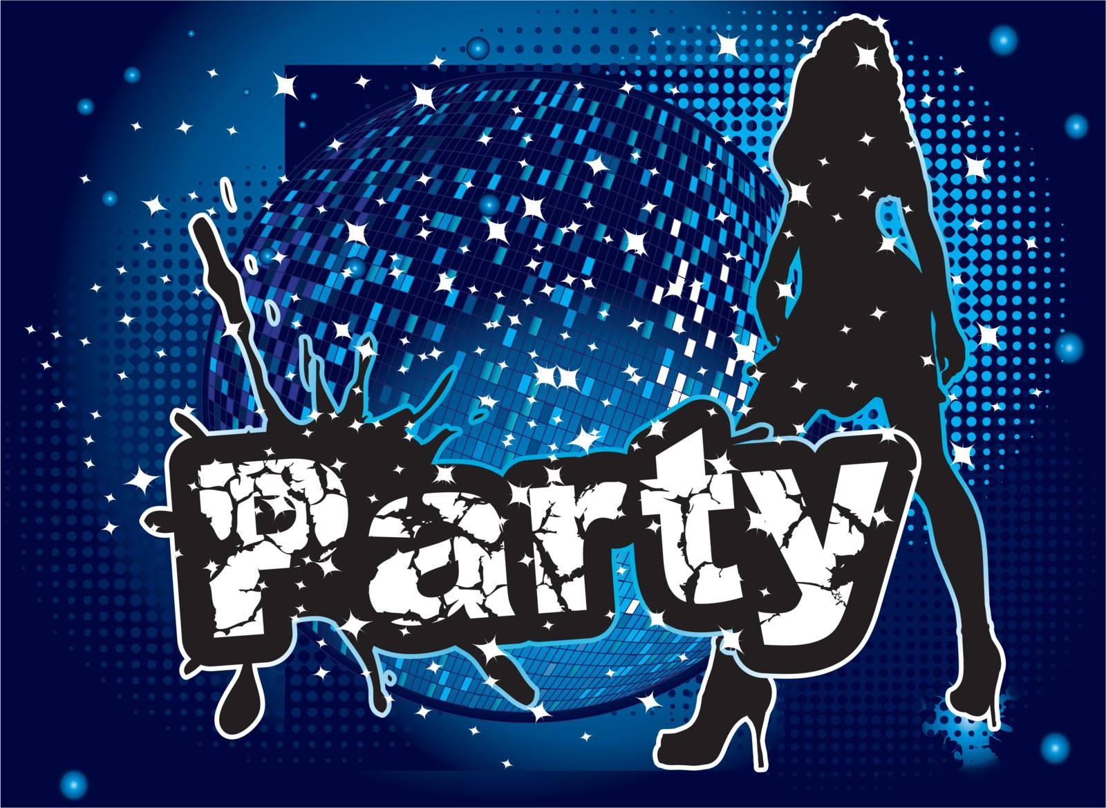 party background with big disco ball and woman sillhouette dancing - original hand drawn vector illustration