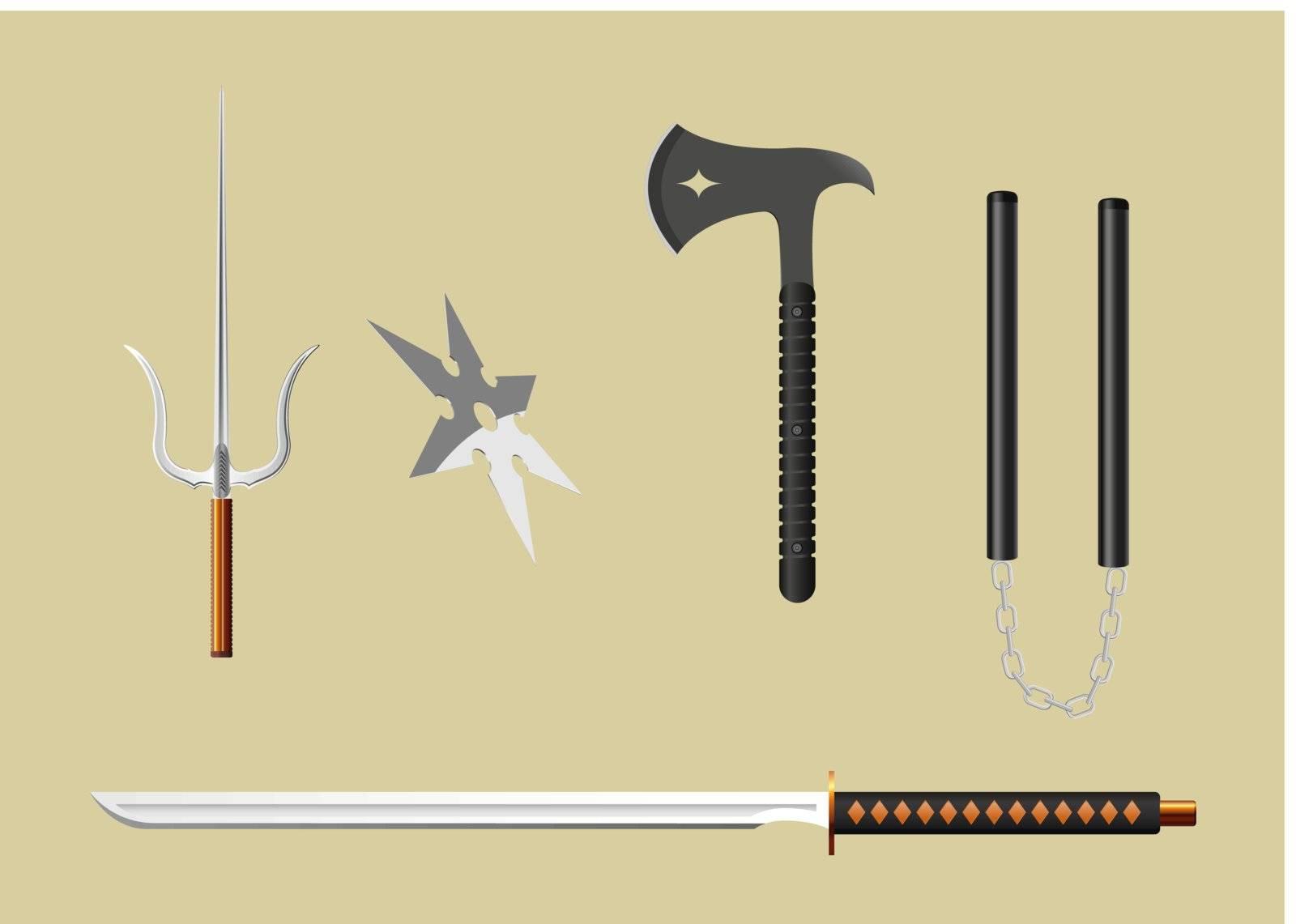 vector ninja weapons, gradient mesh used
