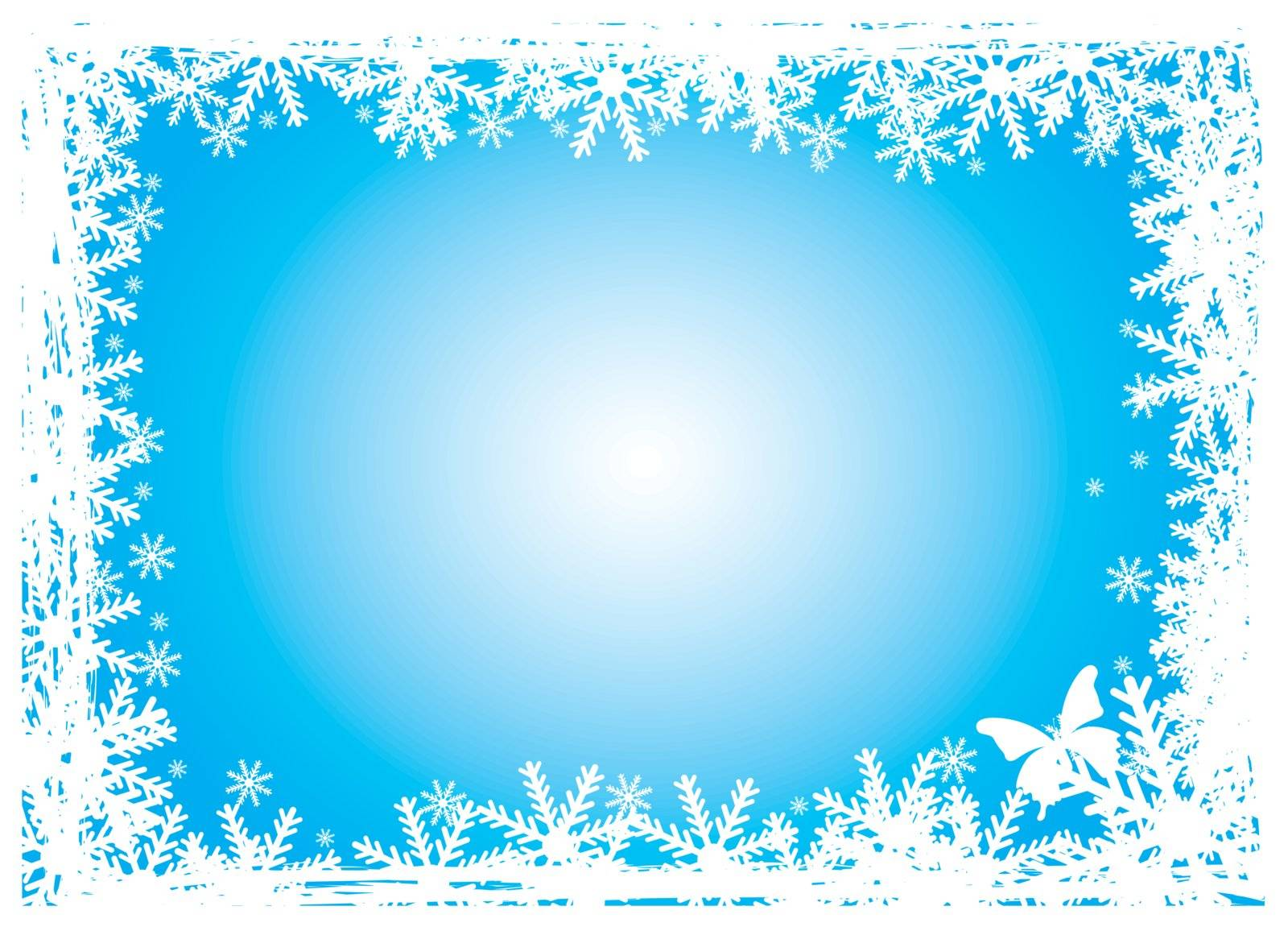 blue background with snow and delineated edge of butterfly