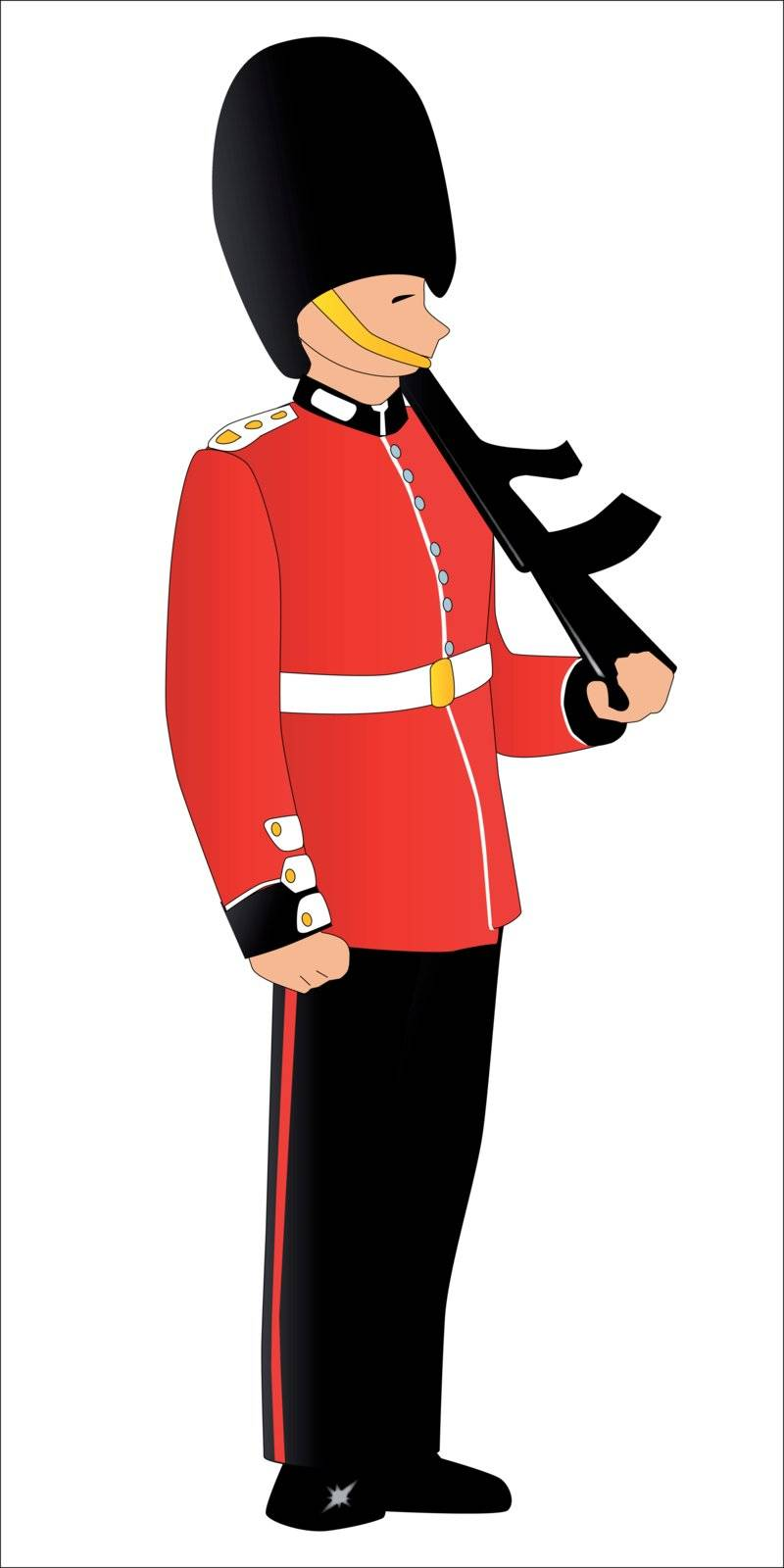 A soldier on royal guard duty, isolated on white.