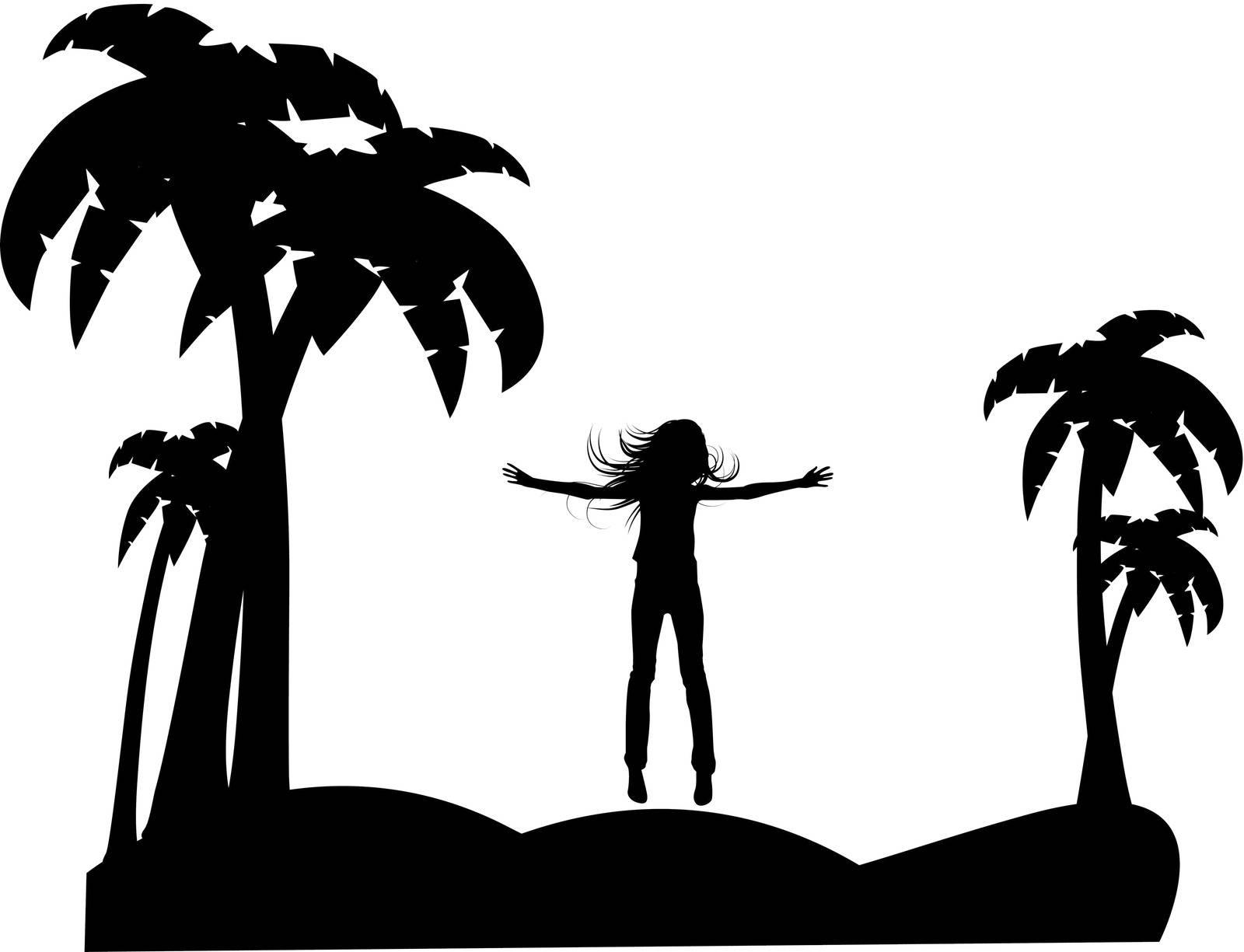 the vector silhouette girl on tropical  beach eps 8