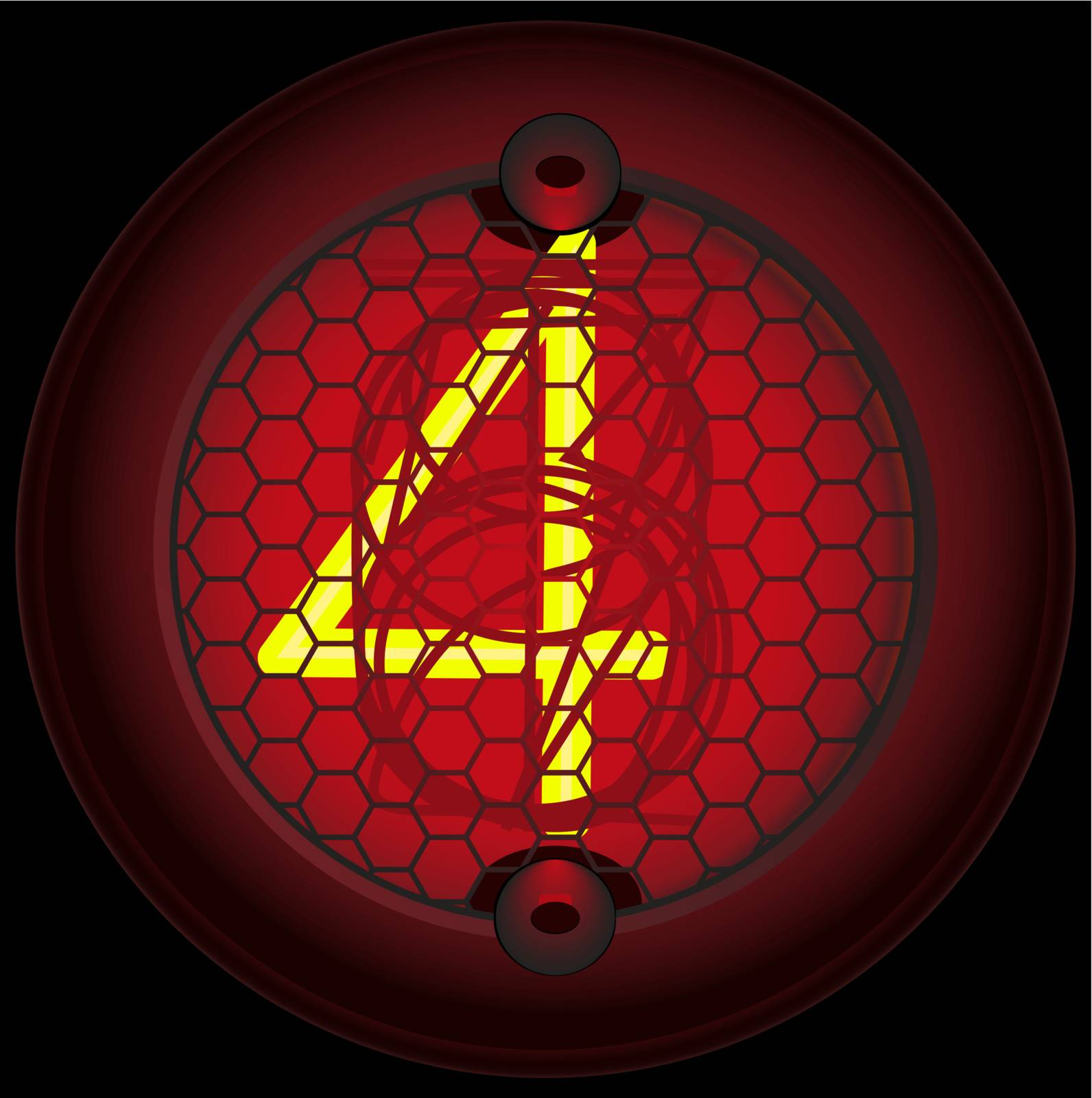 Digit 4 (four). Nixie tube indicator of the numbers of retro style isolated on black