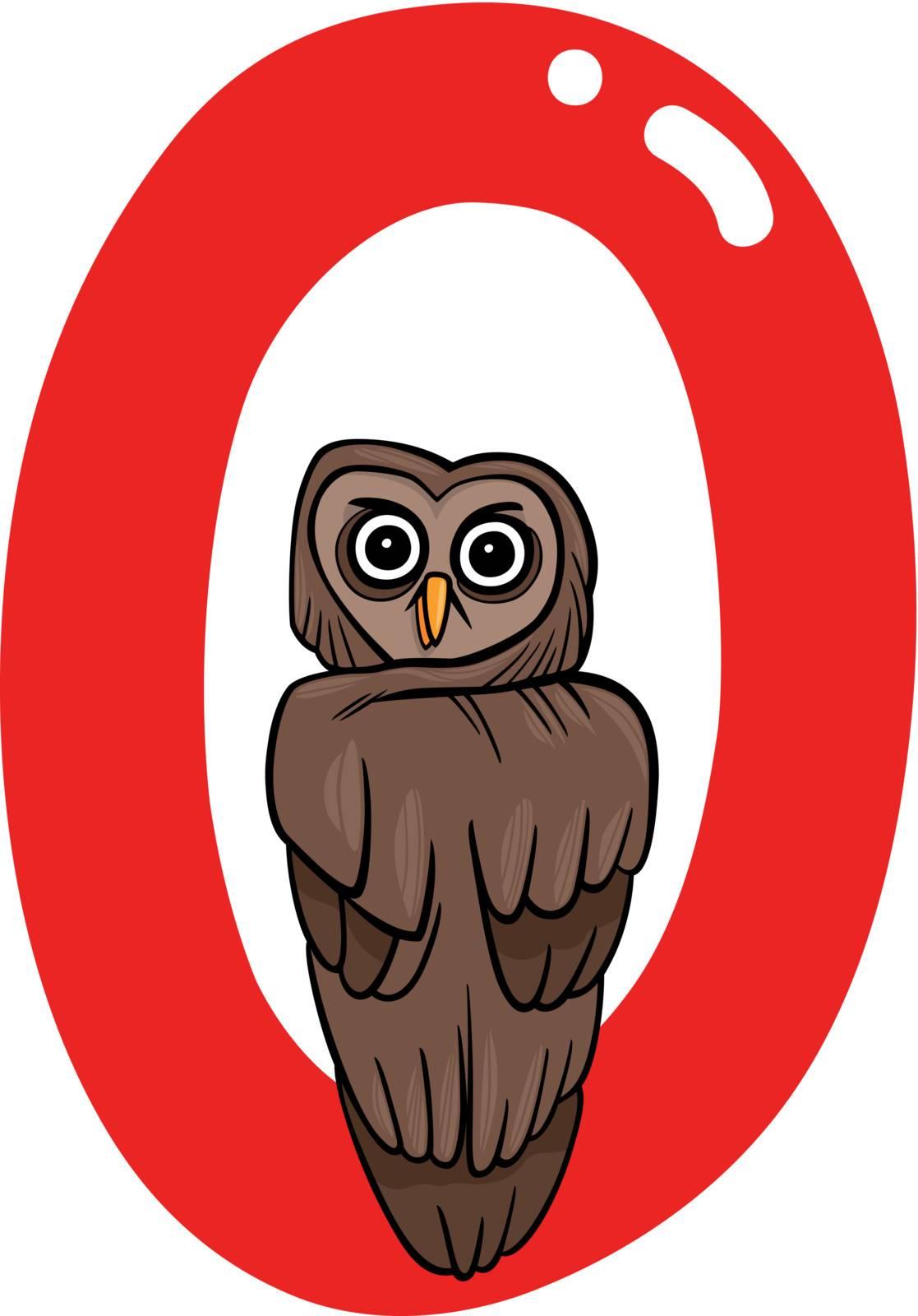 cartoon illustration of O letter for owl