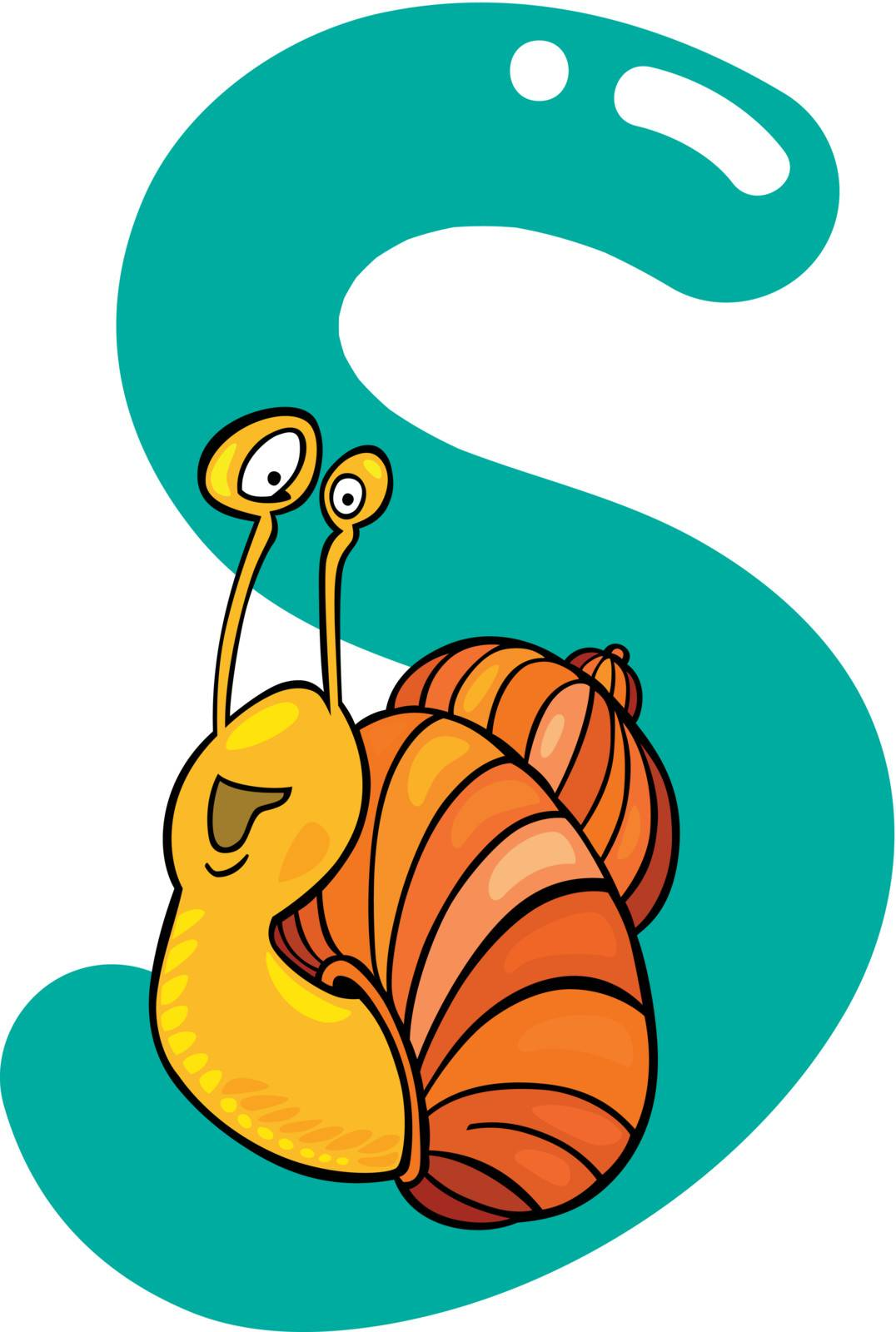 cartoon illustration of S letter for snail