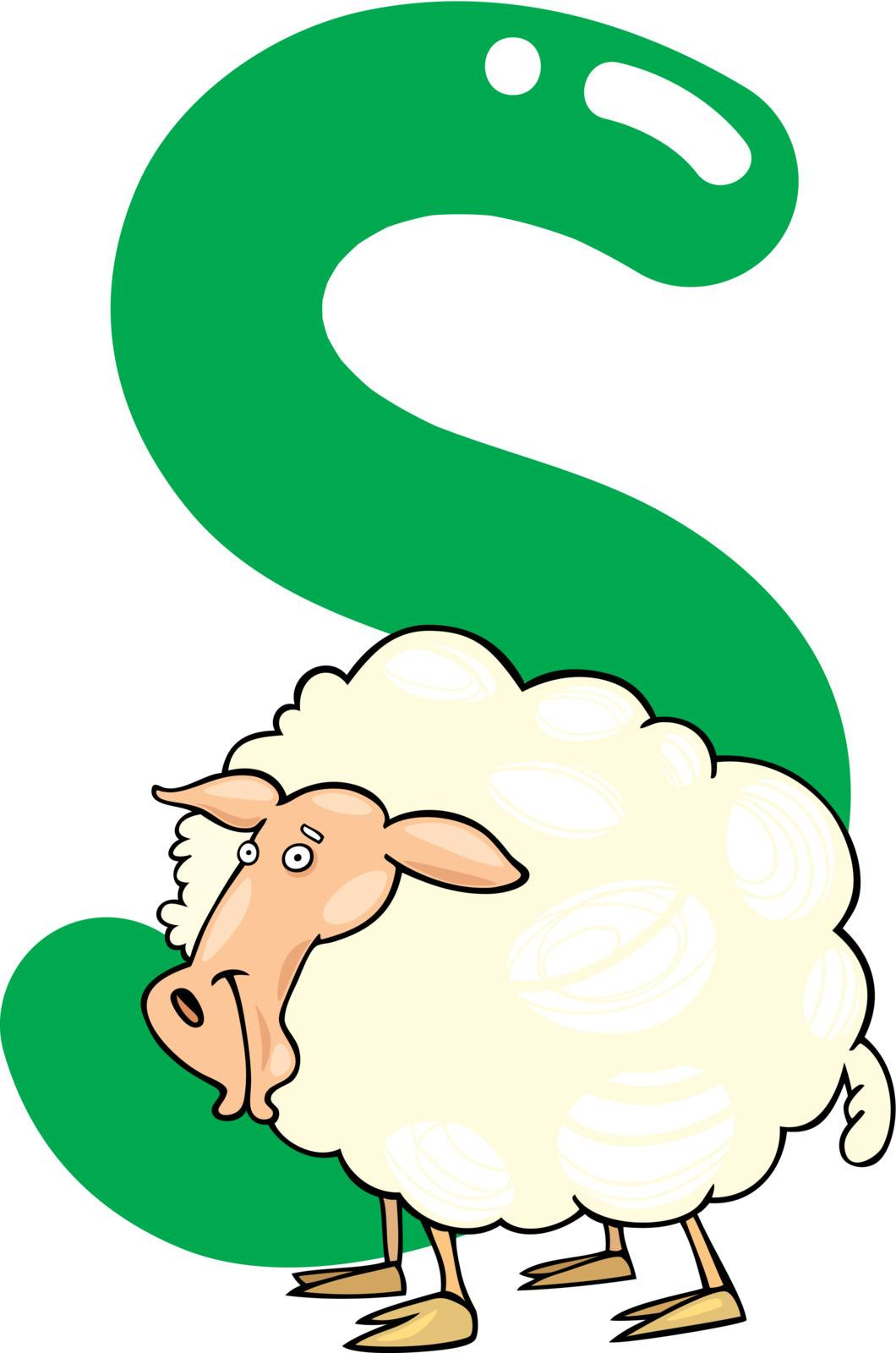 cartoon illustration of S letter for sheep