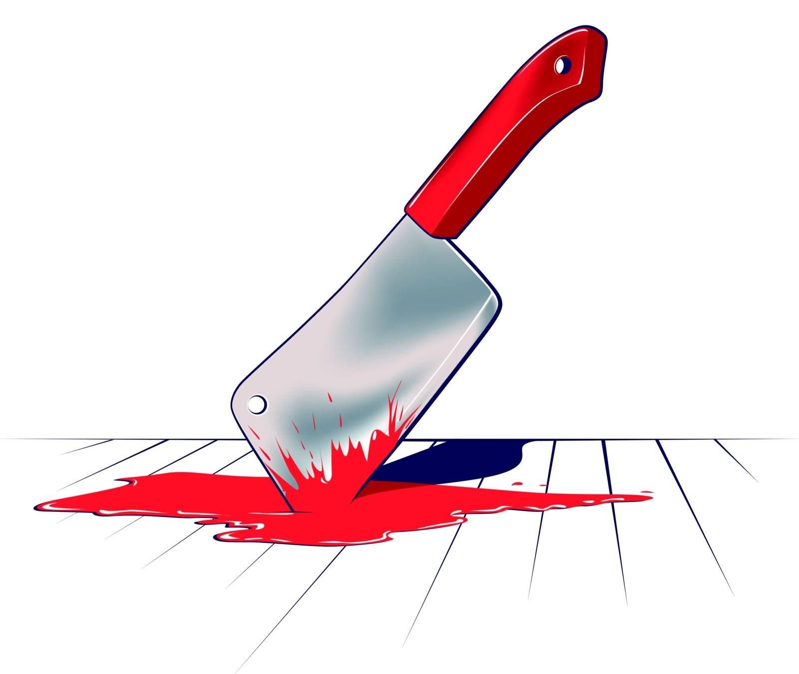 sharp kitchen knife blade in blood