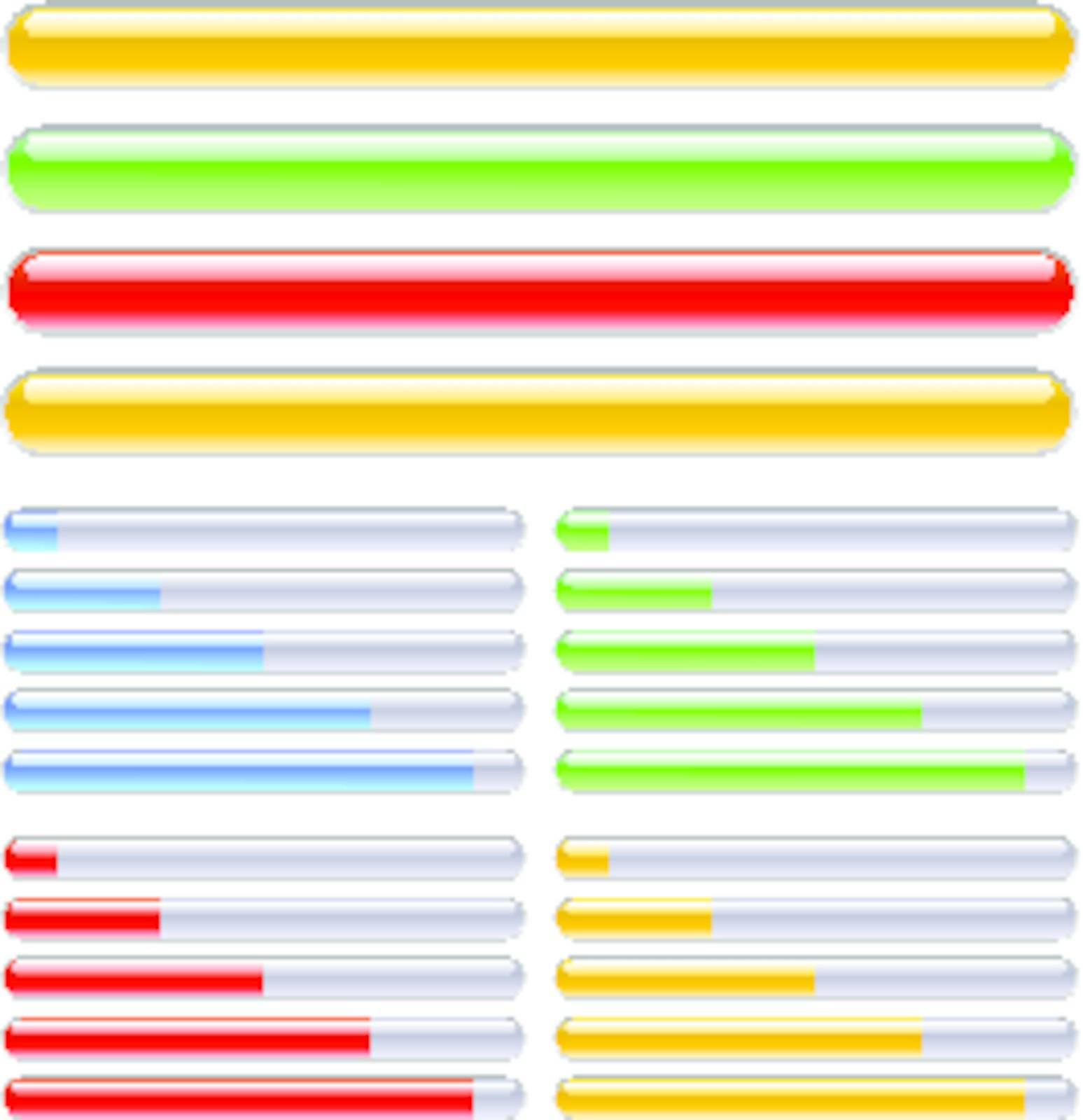 Indicator of progress in different colors. Illustration on white background